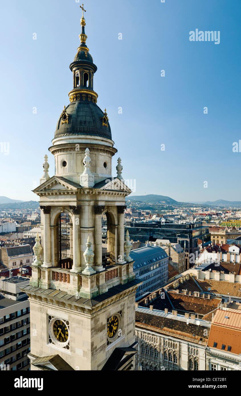 Blick auf Budapest von der Kuppel der St.-Stephans Basilika, Budapest, Ungarn. Stockbild