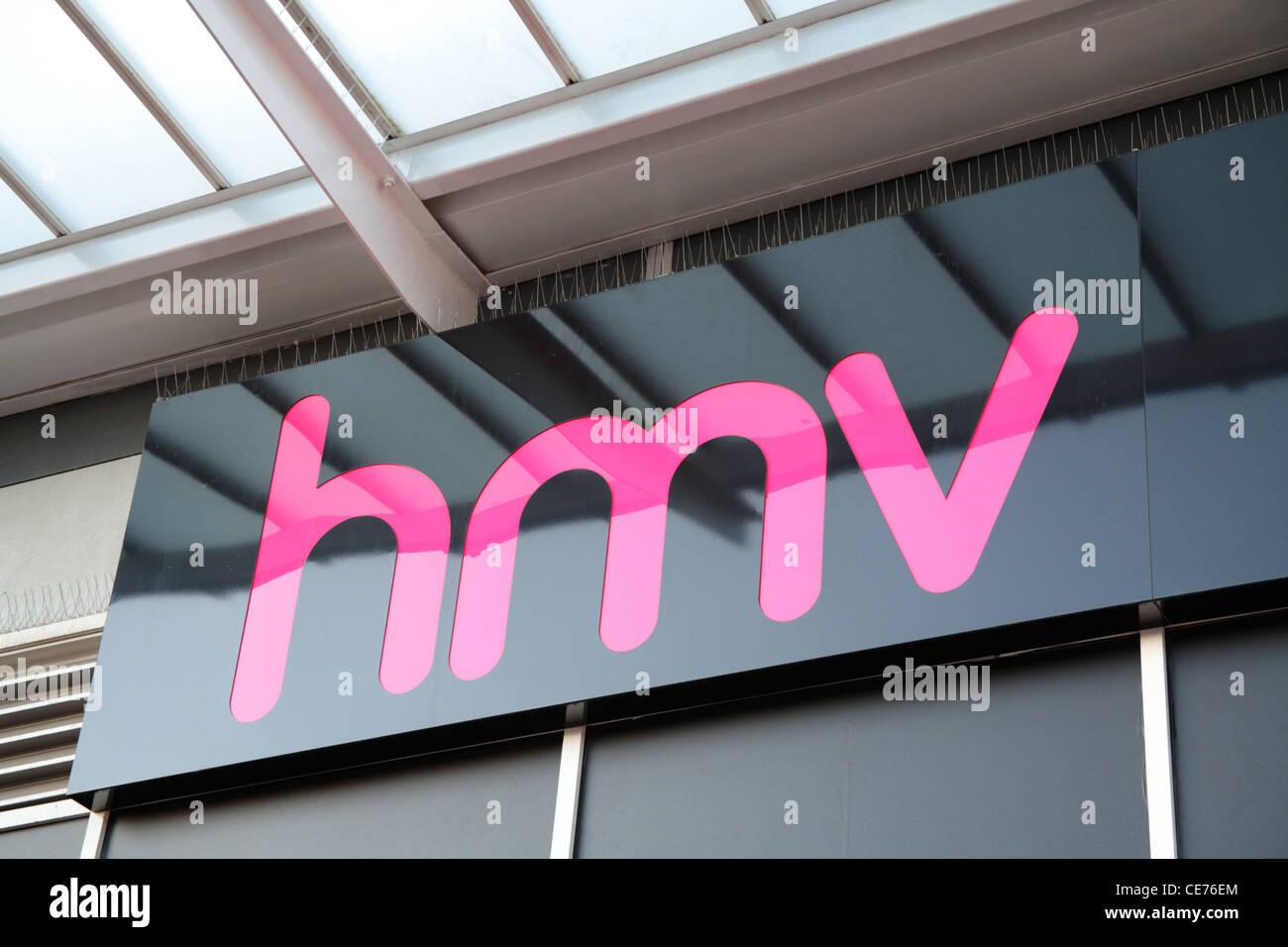 HMV-Beschilderung Stockfoto
