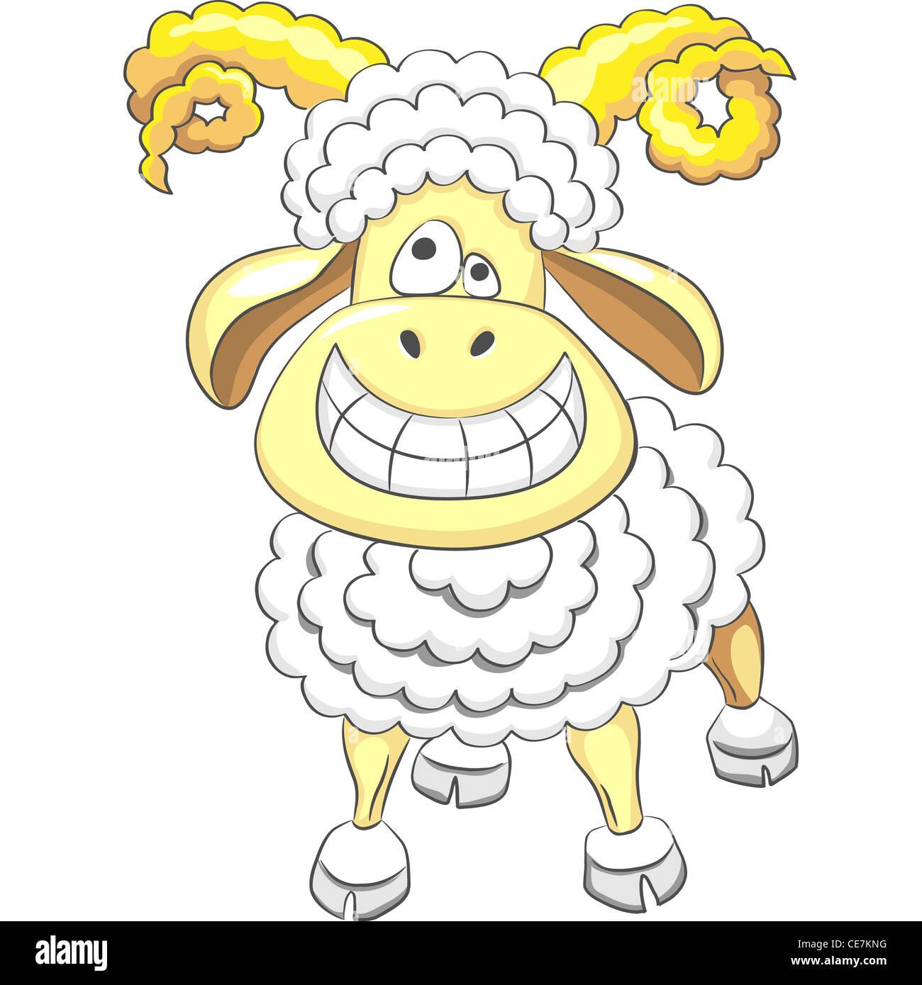 Cartoon, lustige glücklich Ram Lächeln und Spaß, lacht Stockbild