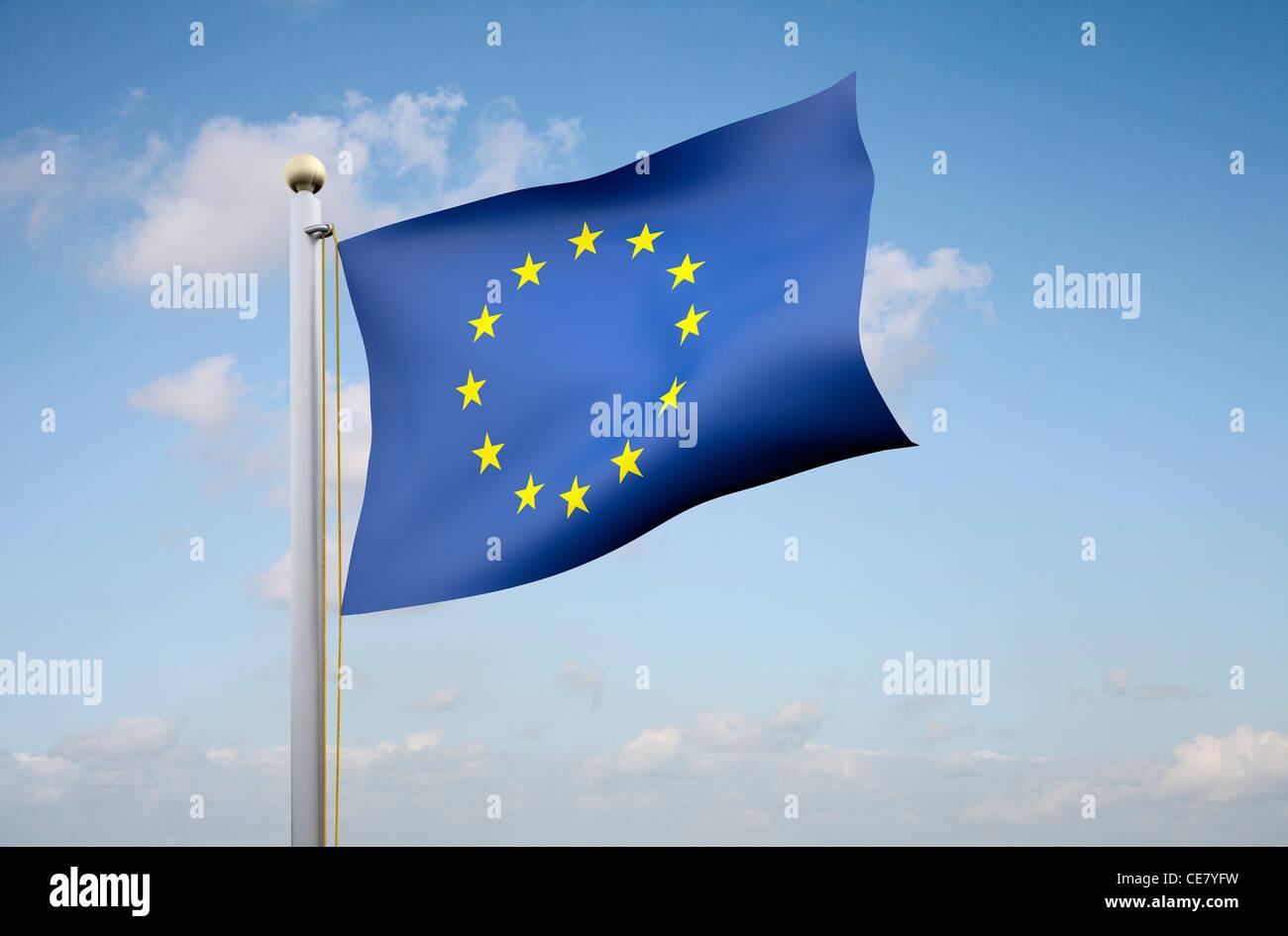 Die Flagge der Europäischen Union Stockbild