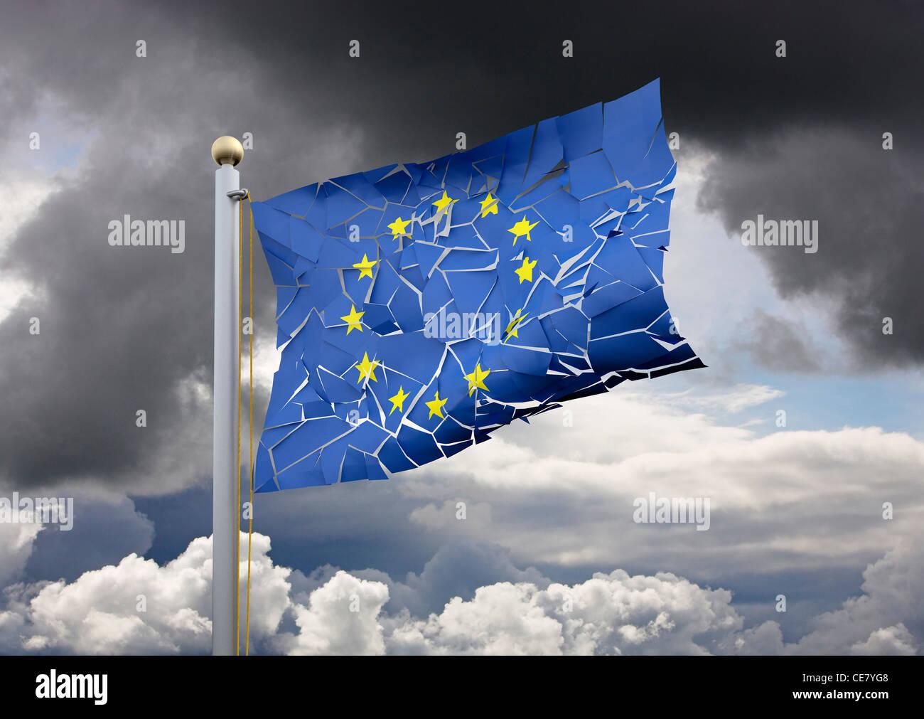 Risse EU-Flagge - Brexit Konzept Referendum/euro Brechen der Eurozone Europäische Union / Europa Krise Konzepte Stockbild