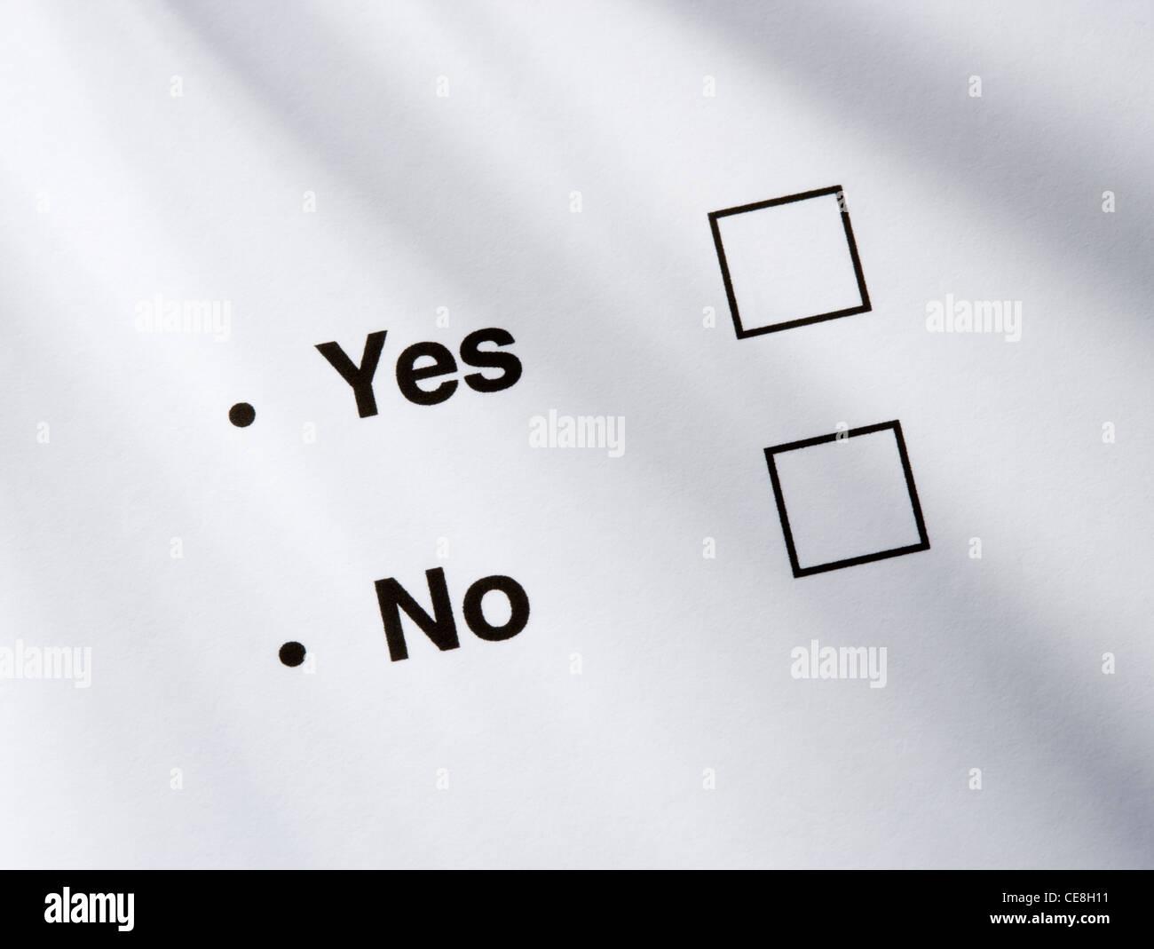 Die option Ja/Nein Felder. Stockbild
