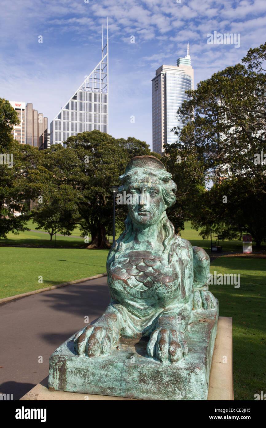 Detail der Bronze Sphinx, The Domain, Sydney, Australien Stockbild