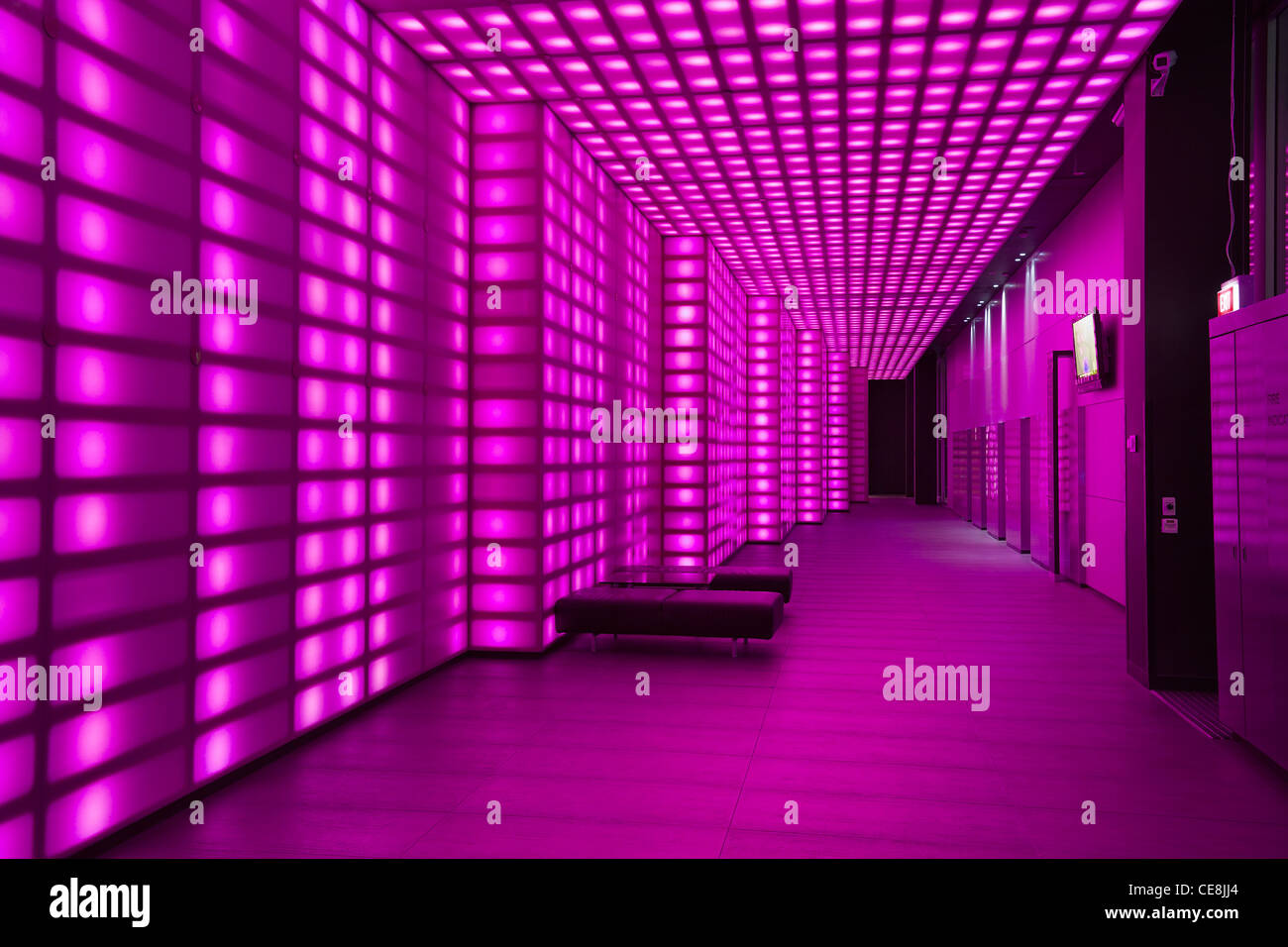 Rosa Beleuchtung Wand Lobby Eingang Zimmer Night Club Oder Disco