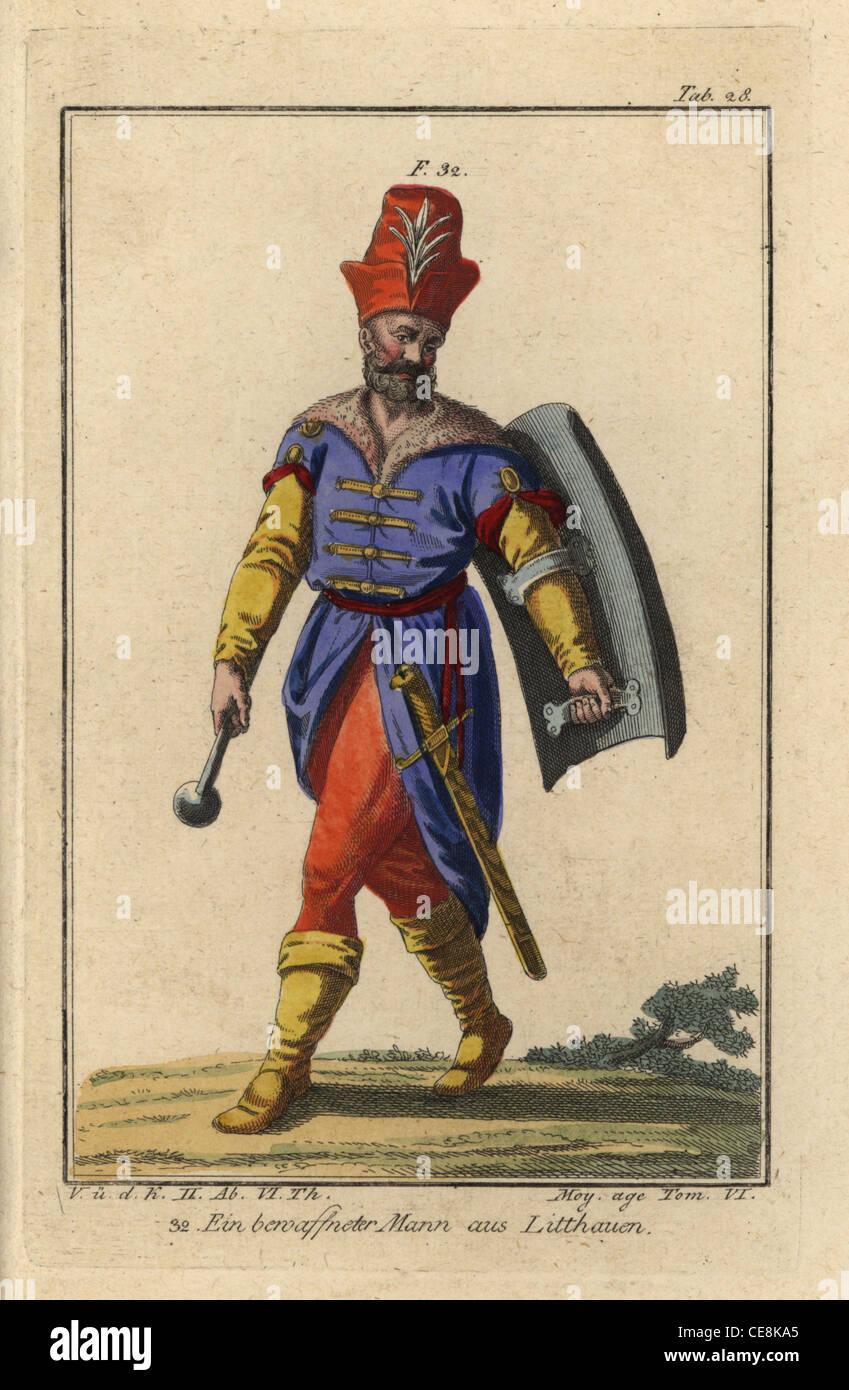 Bewaffneter Mann von Litauen, mit Keule, Schwert und Schild. Stockbild