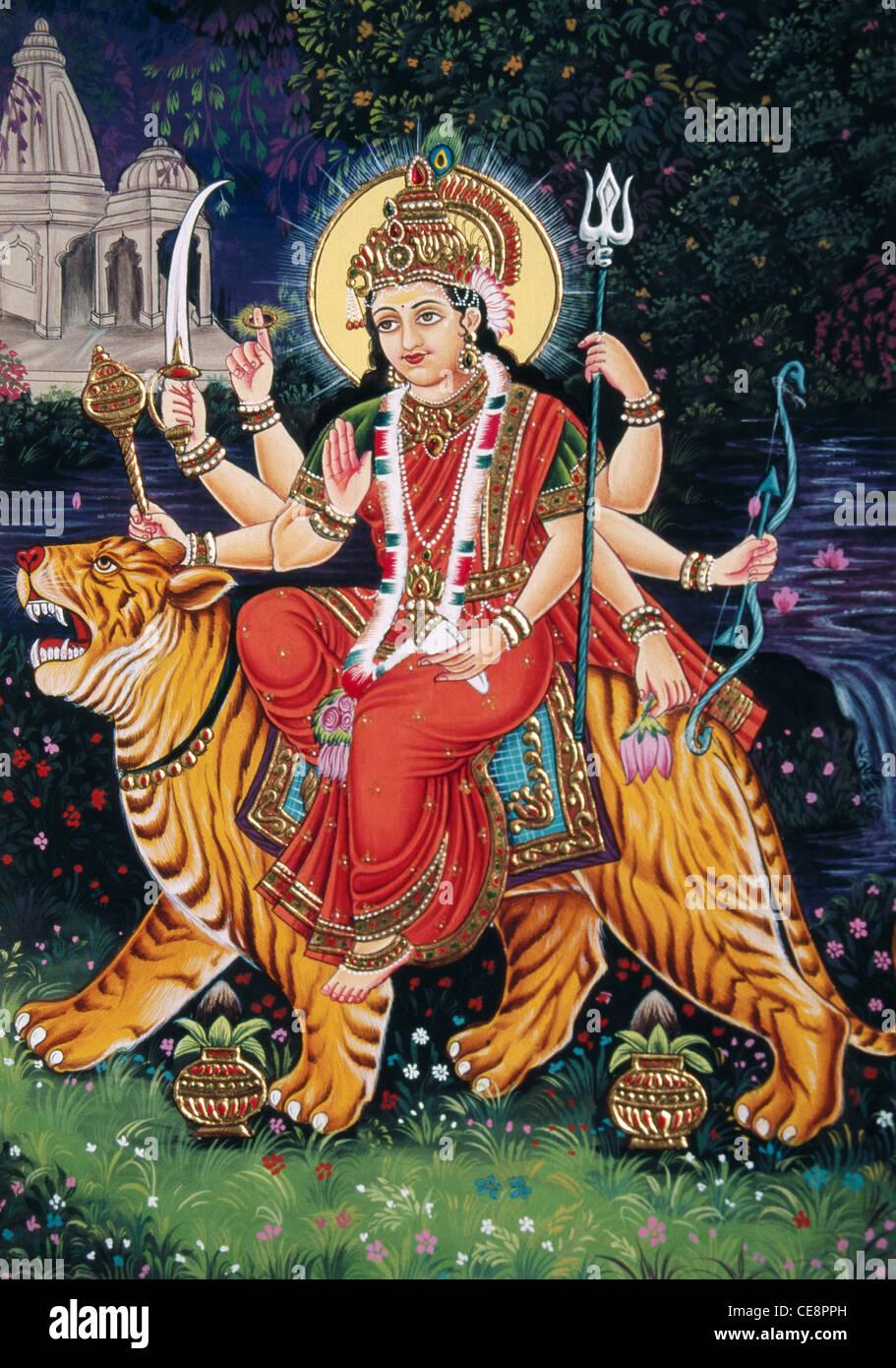 Indische Göttin Durga Sitzen Auf Tiger Miniaturmalerei Auf Papier