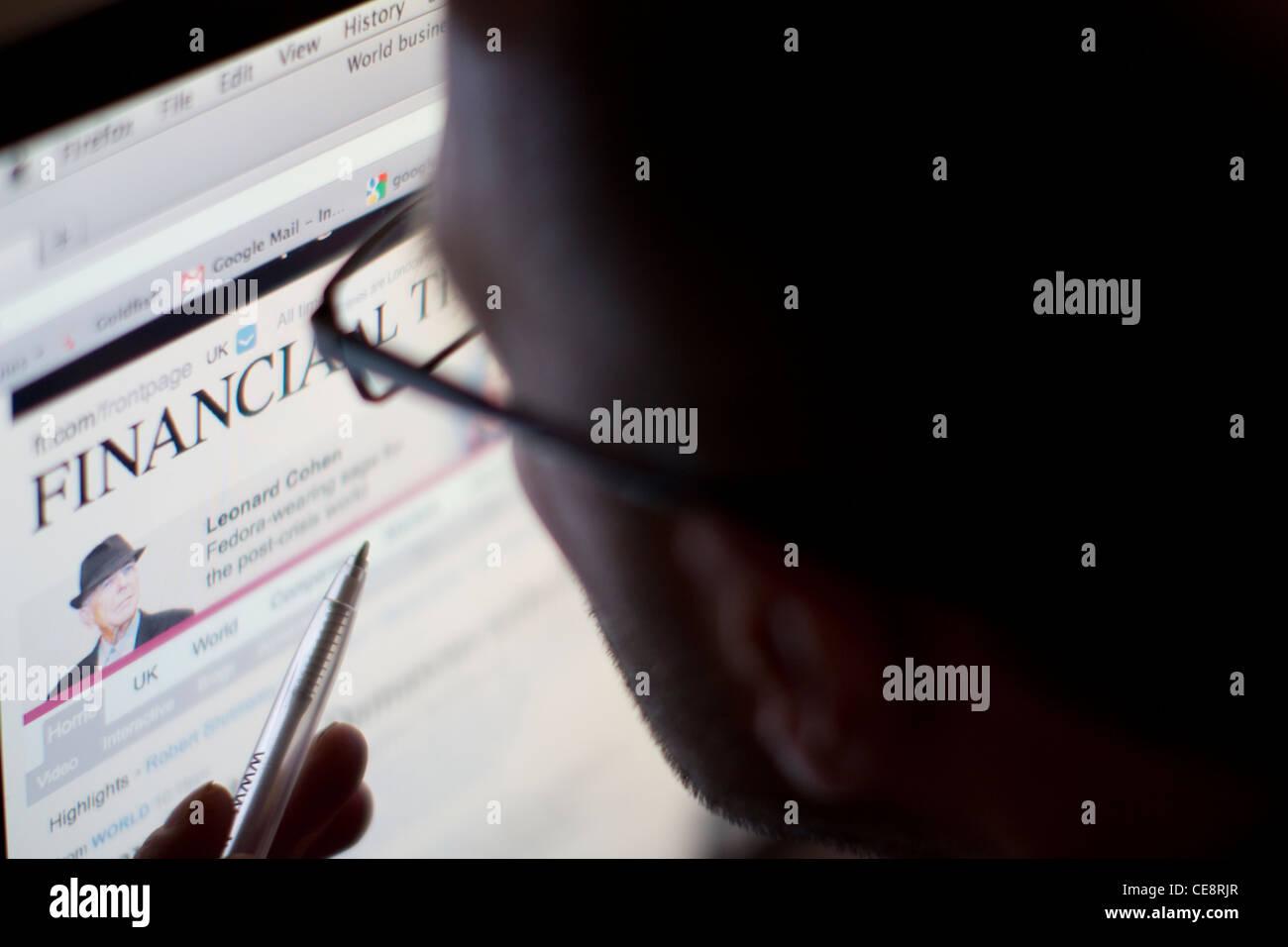 finanzielle Zeiten online Webseite Web Stockbild