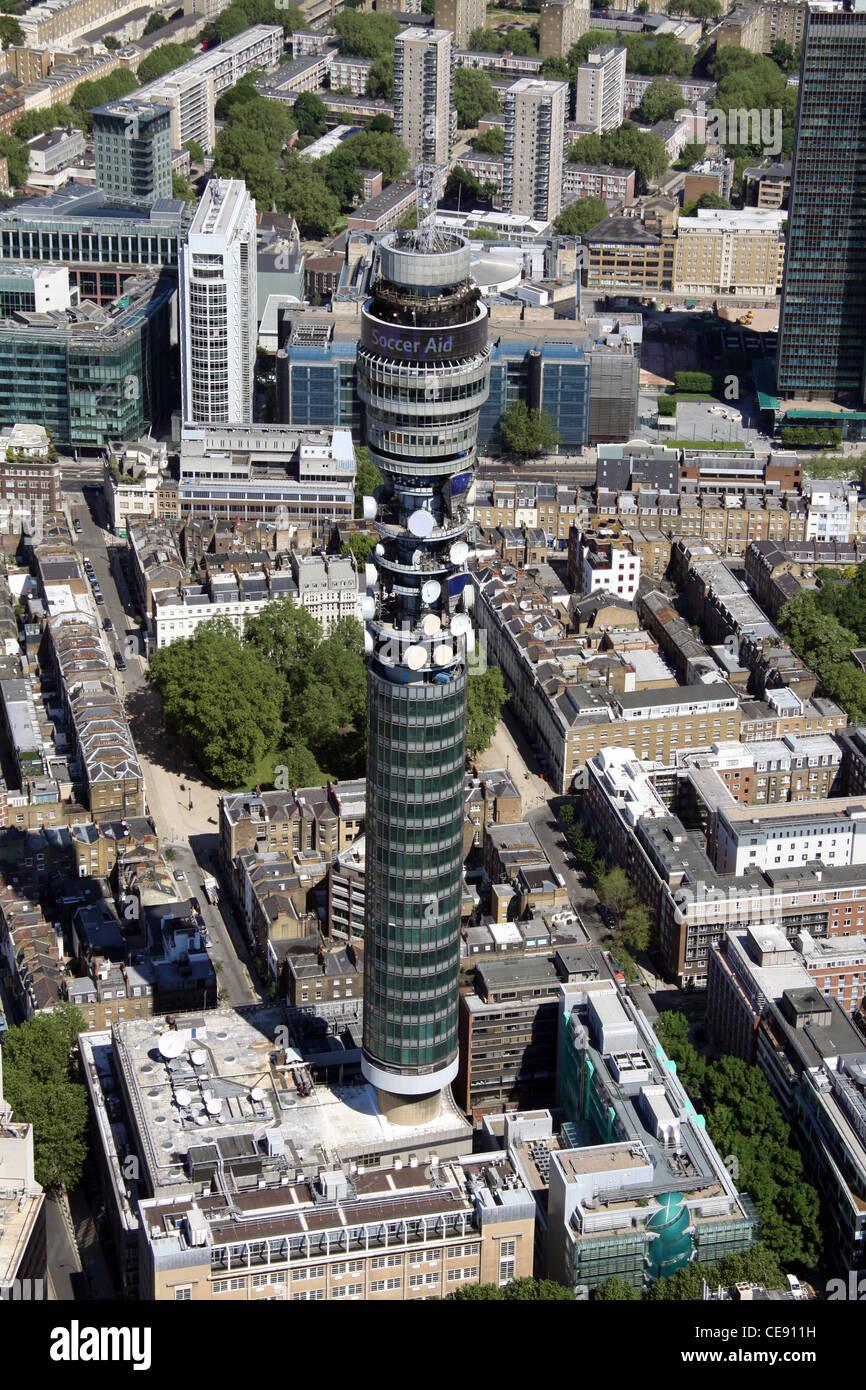 Luftaufnahme von BT Tower, ehemals Post Office Tower, Fitzrovia, London W1 Stockbild