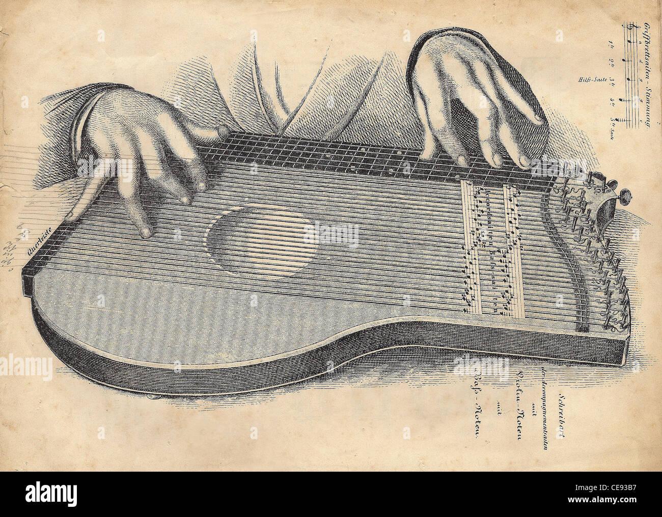 alte Zeichnung der Laute, Abbildung mit einer Hand Stockbild