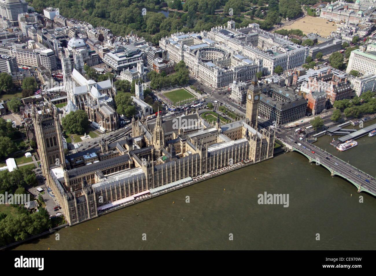 Luftaufnahme von The Houses of Parliament, London SW1 Stockbild