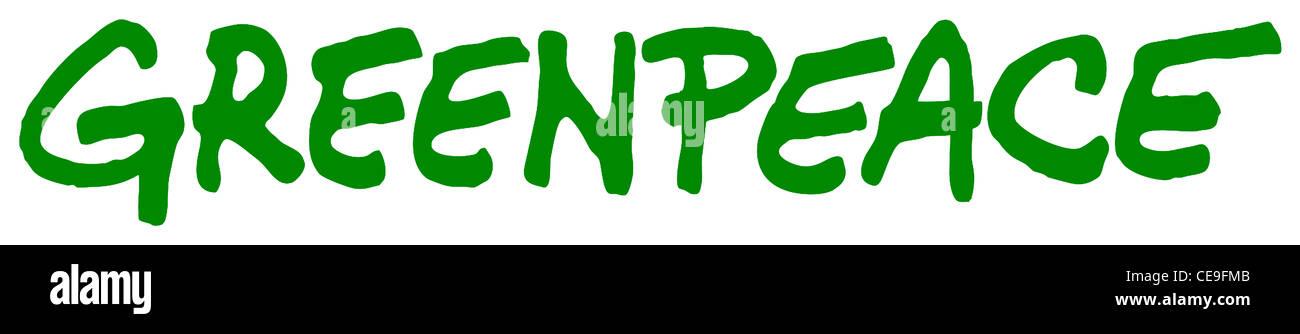 Logo der ökologischen Organisation Greenpeace mit Sitz in Amsterdam. Stockbild
