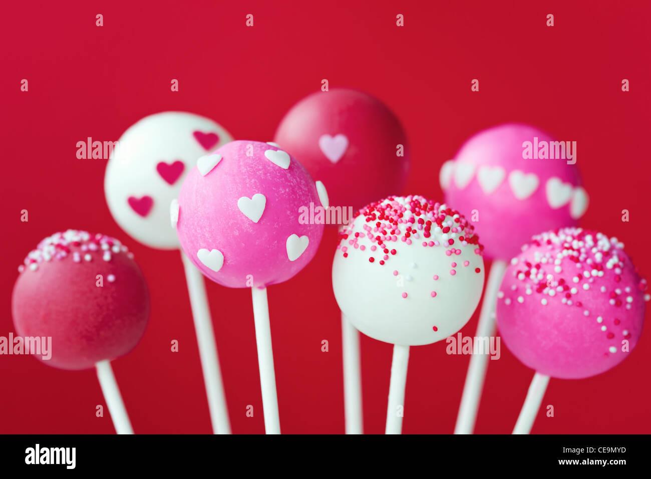 Valentinstag Kuchen pops Stockbild