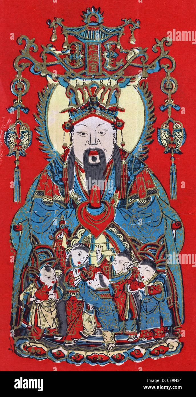 Küche-Gott, benannt Zao Jun, chinesische Volksreligion und chinesischen Mythologie, die Küche Gott namens Stockbild