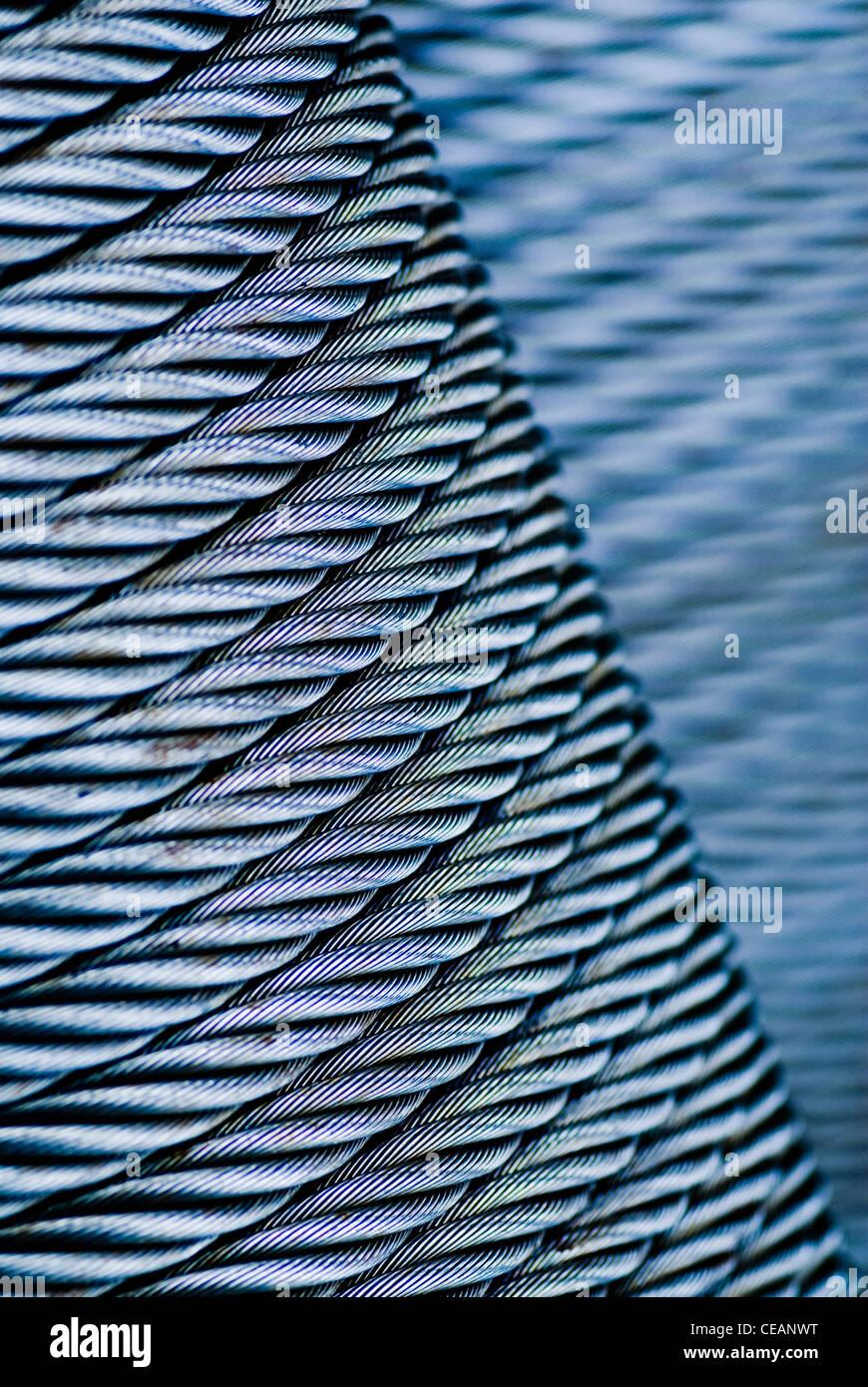 Nahaufnahme von Stahldraht Stockbild