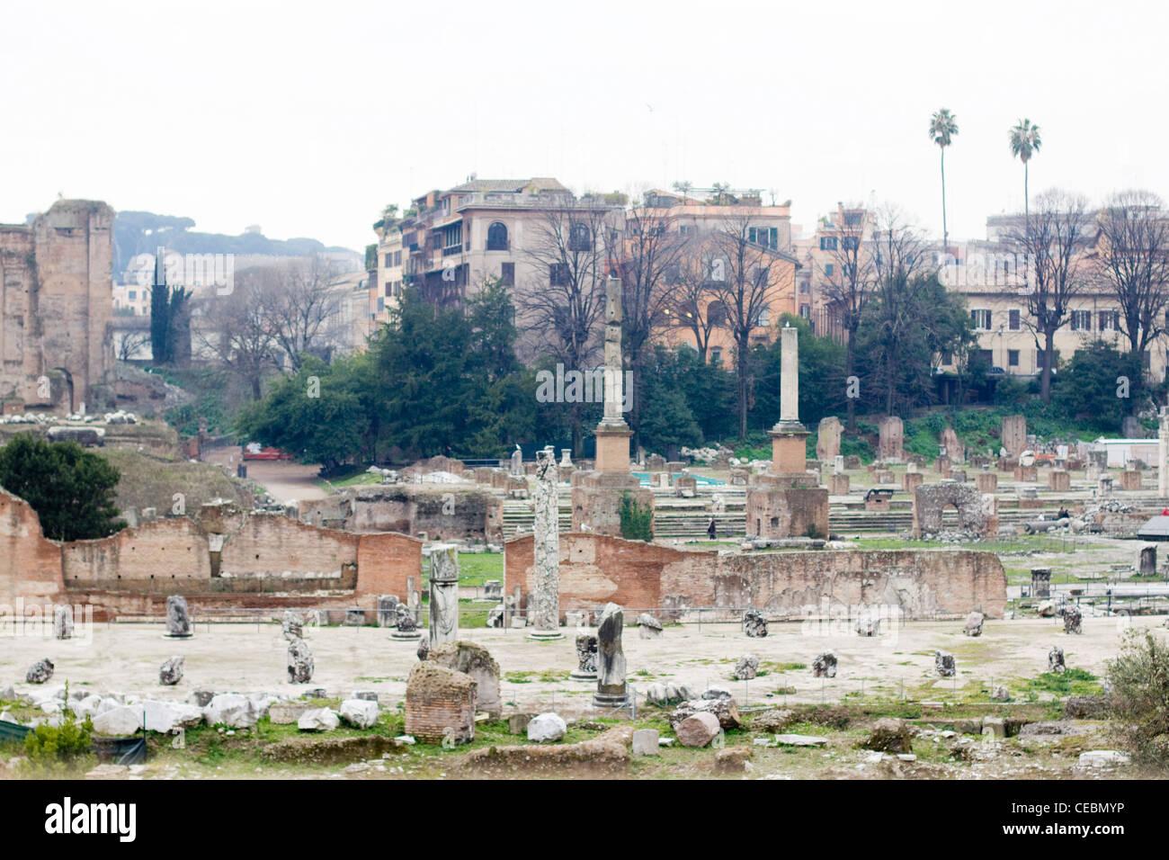Römische Forum Ruins of diverse wichtige alte Regierungsgebäude in der Mitte der Stadt von Rom. Stockbild