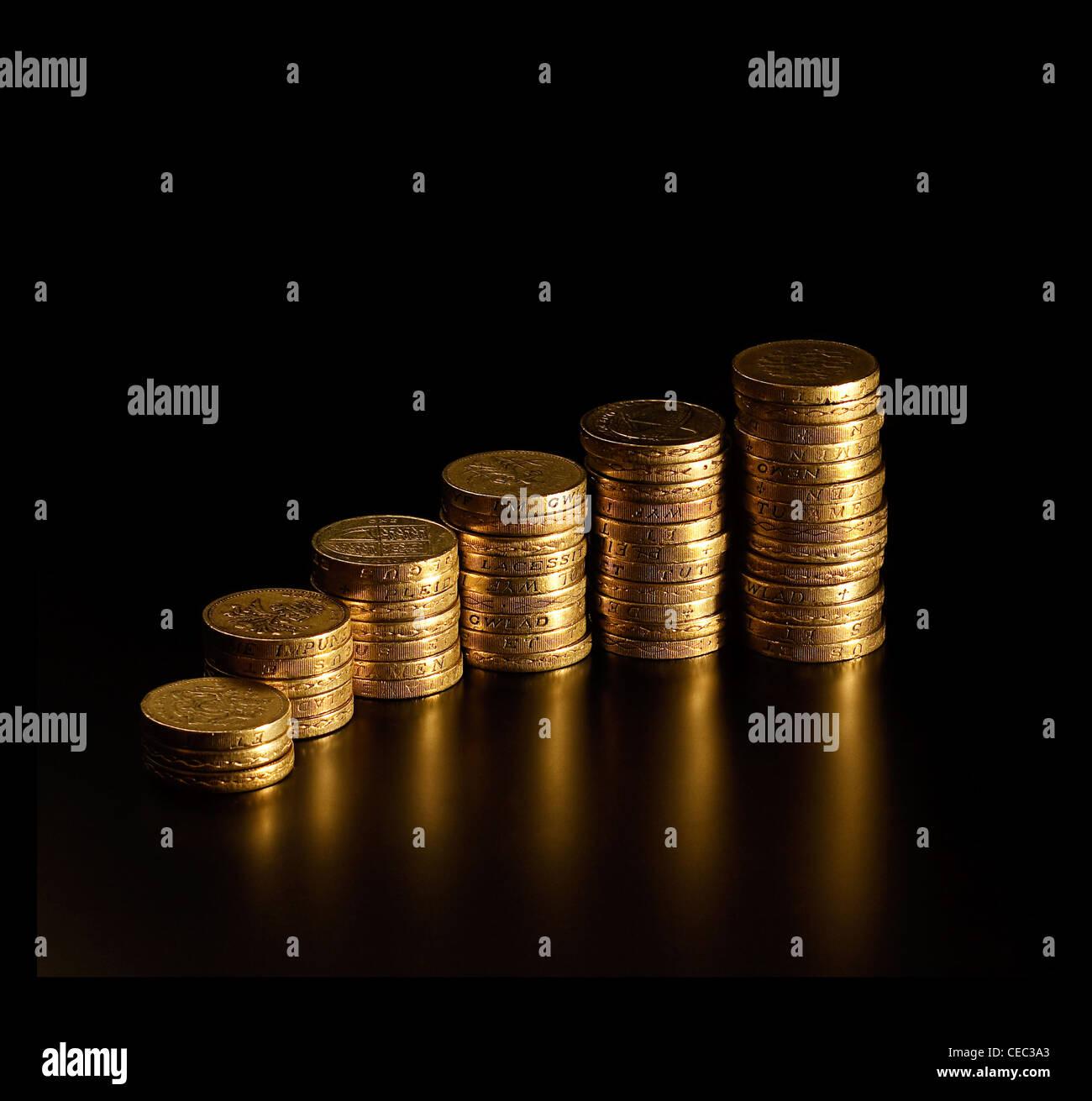 Immer höhere Berge von britischen Pfund-Münzen ähneln immer mehr Gewinn graph Stockbild