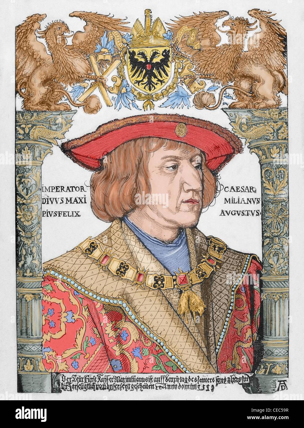 Maximilian ich (1459-1519). König der Römer und Kaiser des Heiligen Römischen Reiches. Kupferstich Stockbild