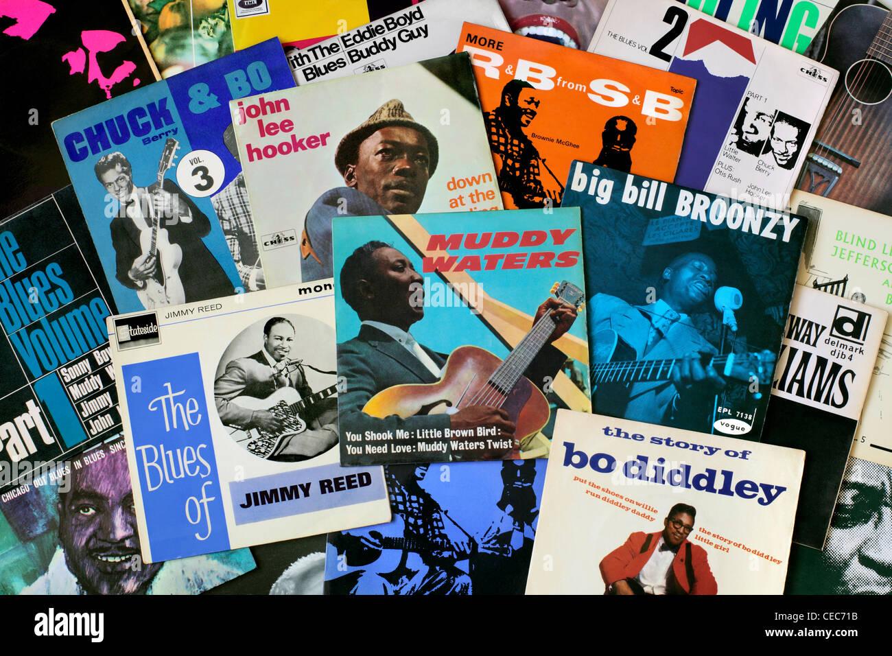 """Eine Auswahl an Blues EPs vor allem aus den 1960er Jahren. EPs, wobei 7"""" Vinyl-Schallplatten mit, in der Regel, Stockbild"""