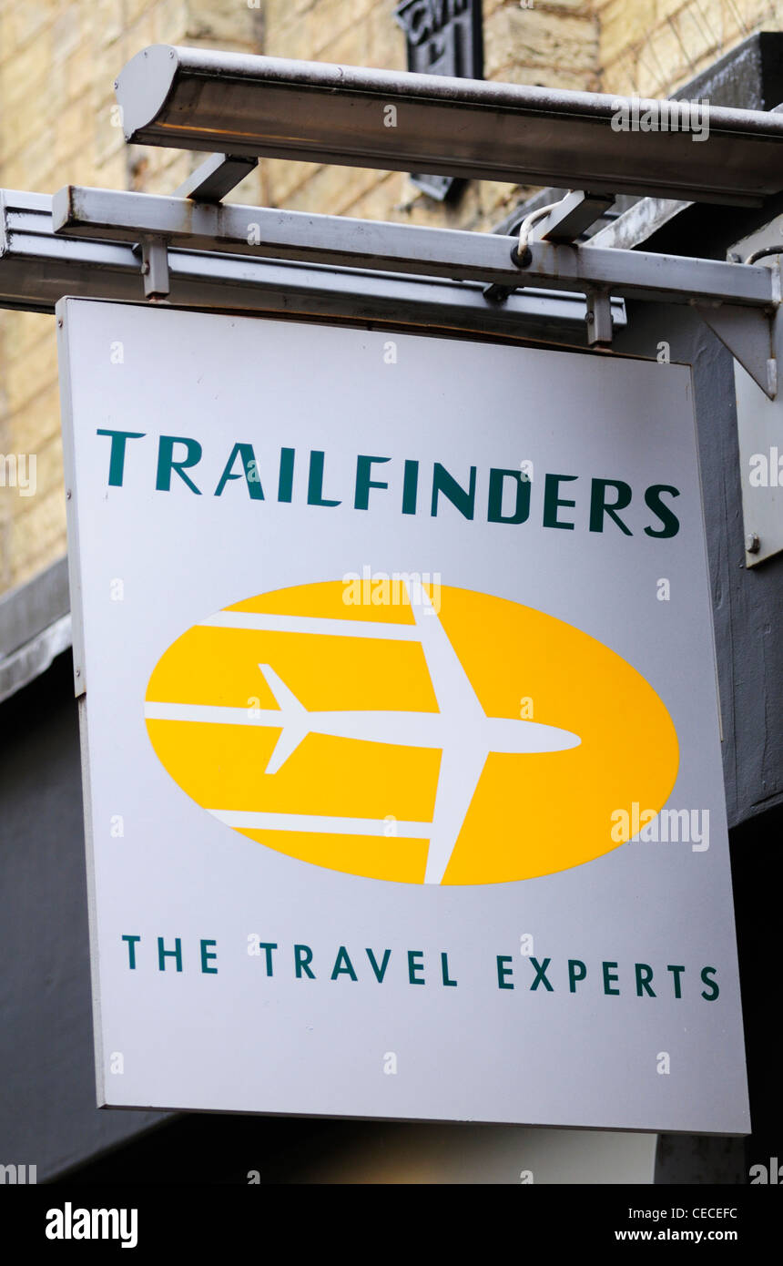 Trailfinders Travel Agents Zeichen, Cambridge, England, UK Stockbild