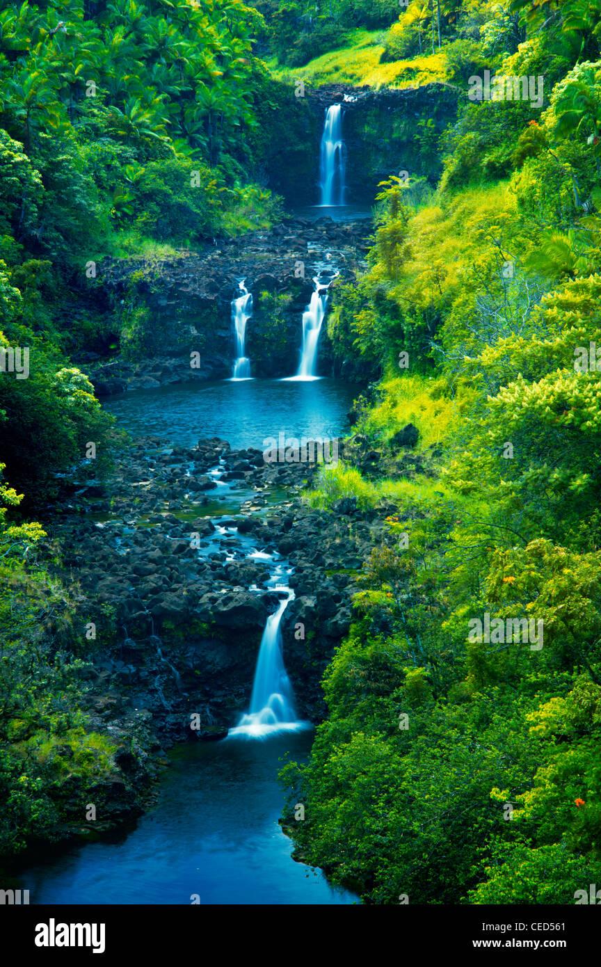 UmaUma fällt. Hawaii, Big Island. Stockfoto