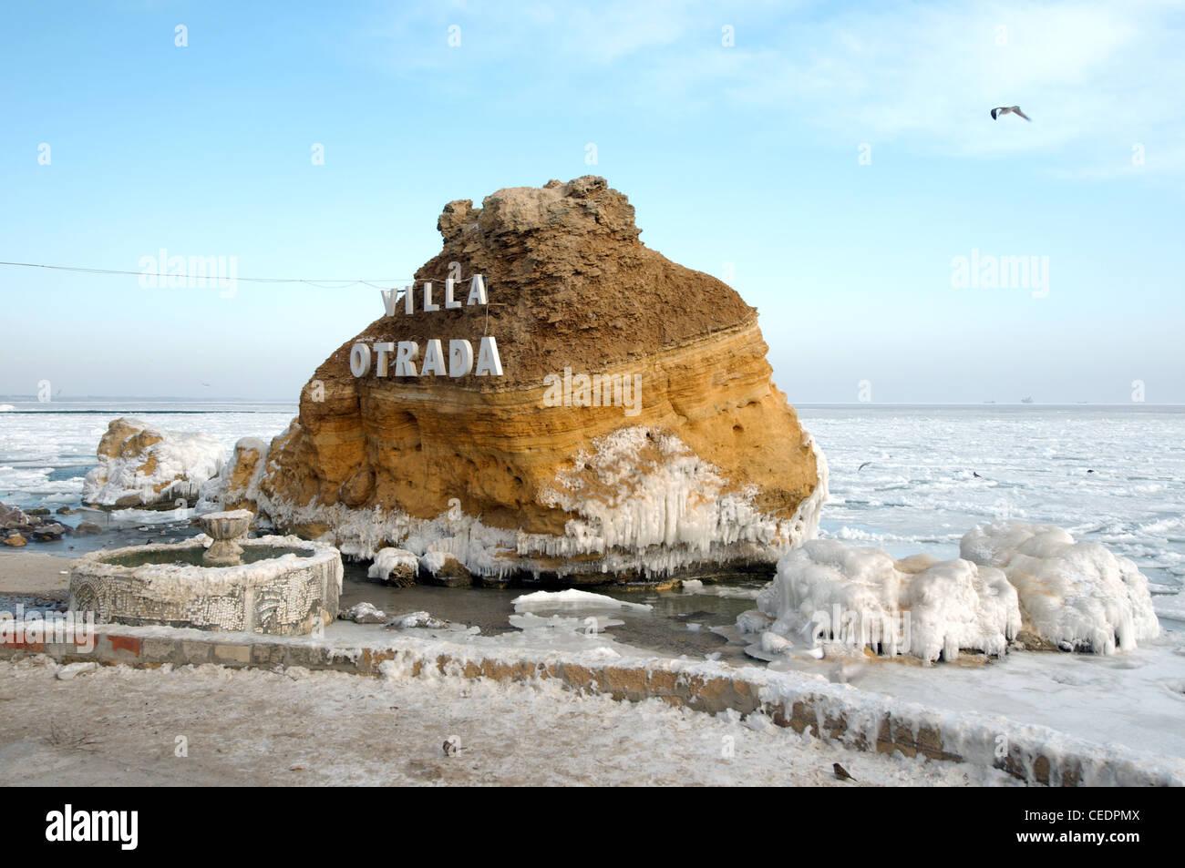 Gefrorene schwarze Meer, ein seltenes Phänomen, Odessa, Ukraine, Osteuropa Stockbild