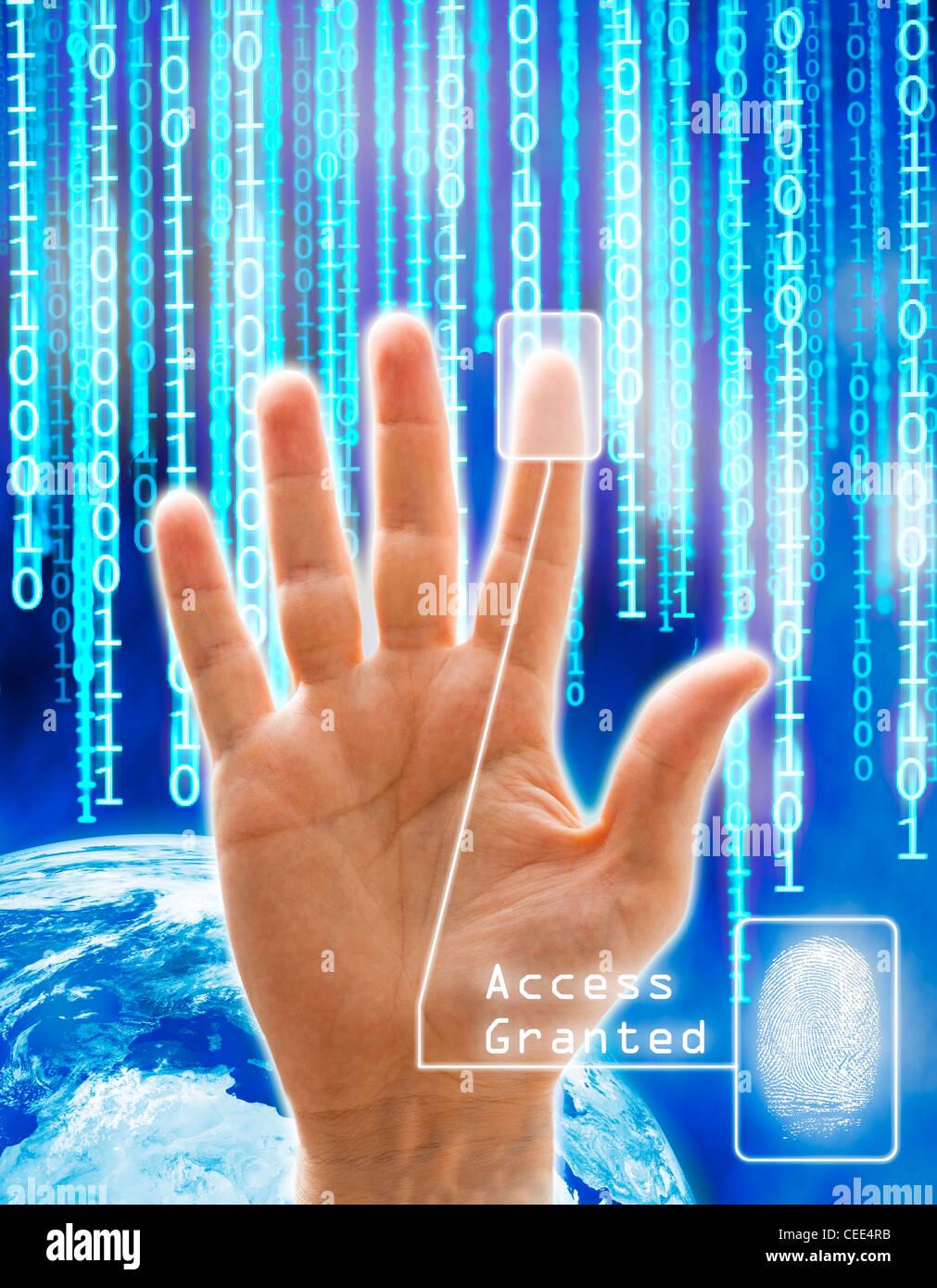 Bild-Konzept von Sicherheit und Technik. Alle Bilder sind computergenerierte außer die Hand, die eine körperliche Stockbild