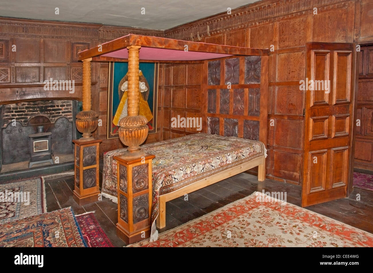 himmelbett bett in castle lodge ludlow shropshire eine mittelalterliche tudor. Black Bedroom Furniture Sets. Home Design Ideas