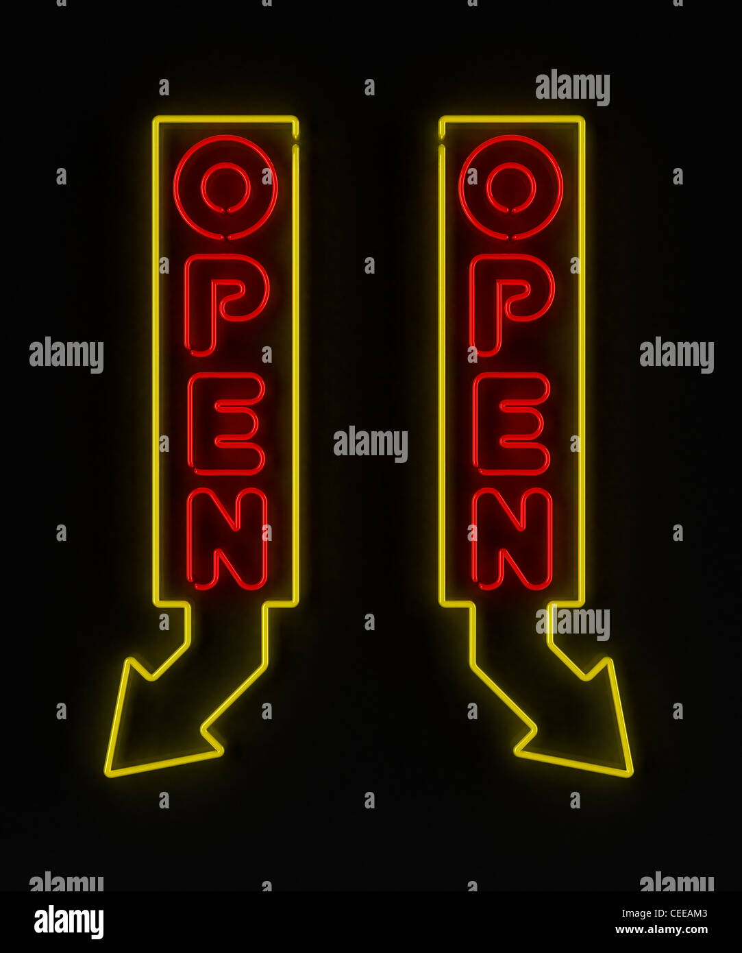 Neon-Schild mit Pfeil Stockfoto
