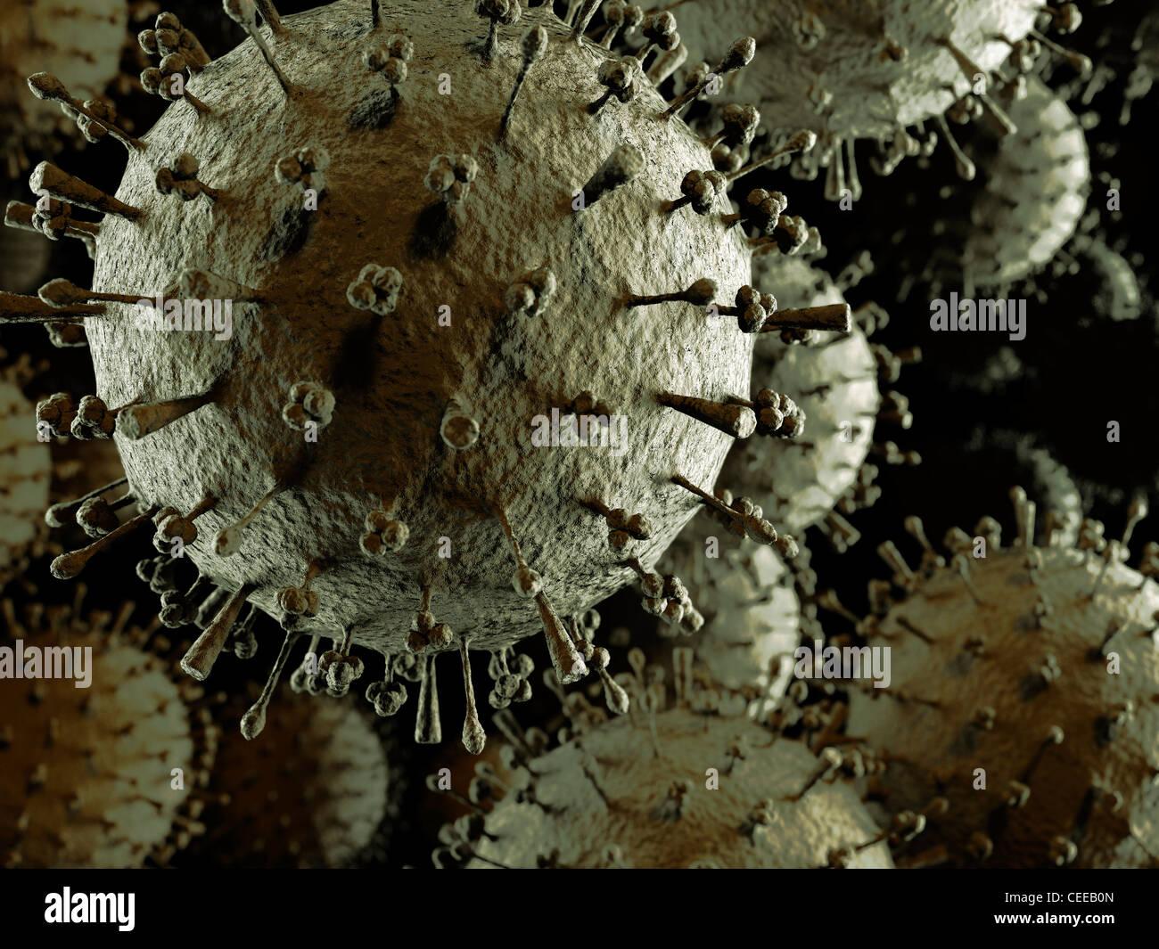 Influenza A Grippe-Virus H1N1 H5N1 Partikelwolke. Eingefärbt in Rot 3D Darstellung der Verbreitung Virus Schweinegrippe, Stockbild