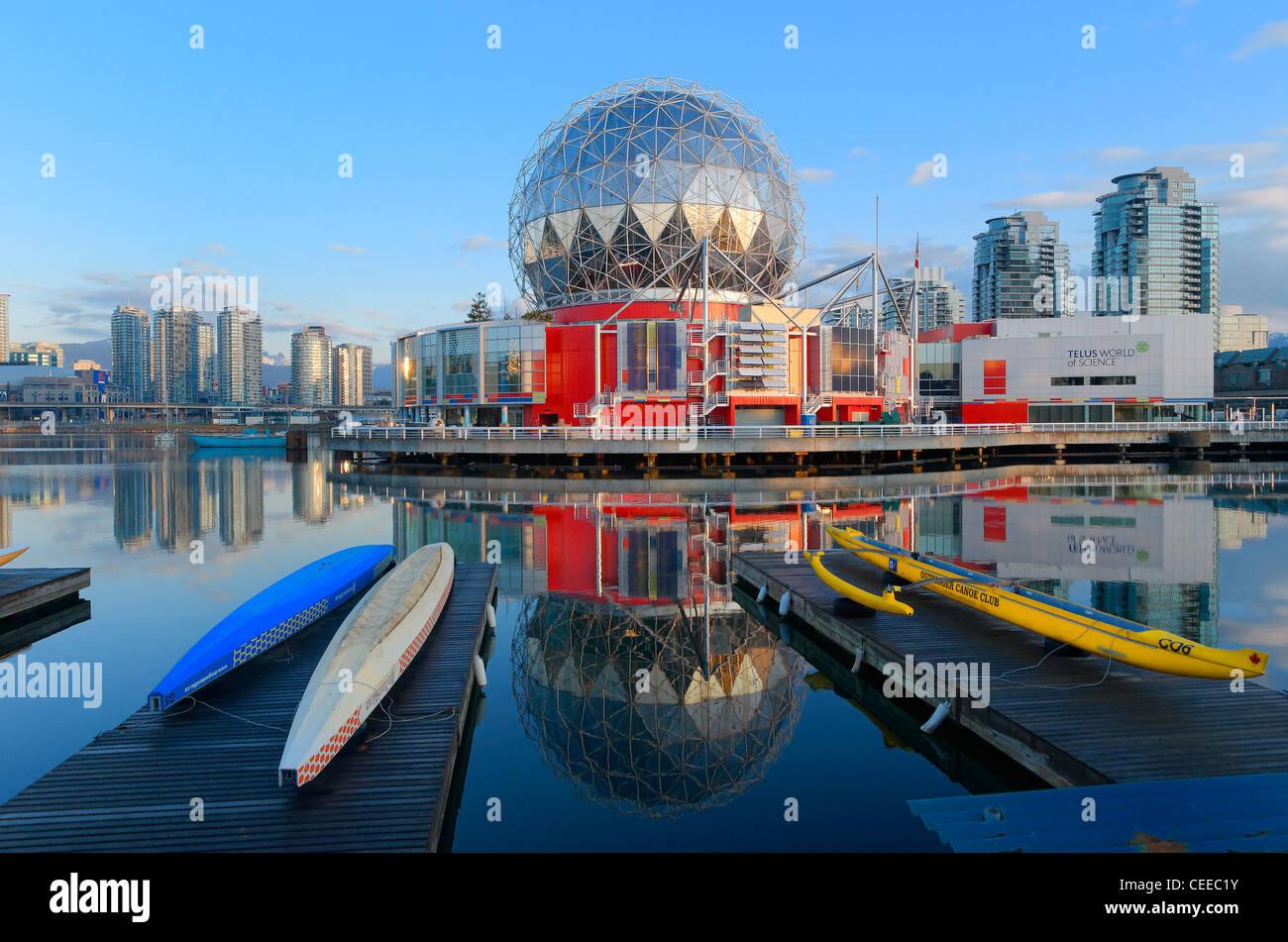 Welt der Wissenschaft, False Creek Vancouver British Columbia, Kanada Stockbild