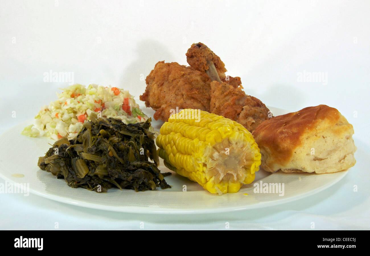 Southern Fried Chicken Dinner Stockbild