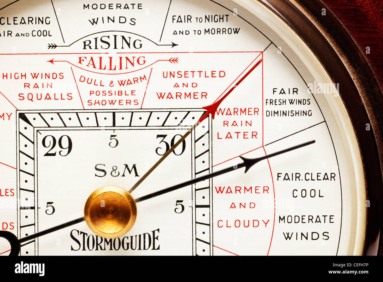 Barometer Zifferblatt hautnah Stockbild