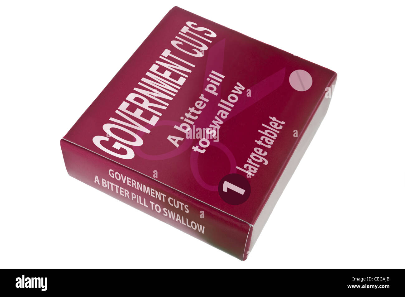 """Eine einzelne rote Medikamente-Pack mit den Worten """"Regierung schneidet eine bittere Pille zu schlucken"""" Stockbild"""