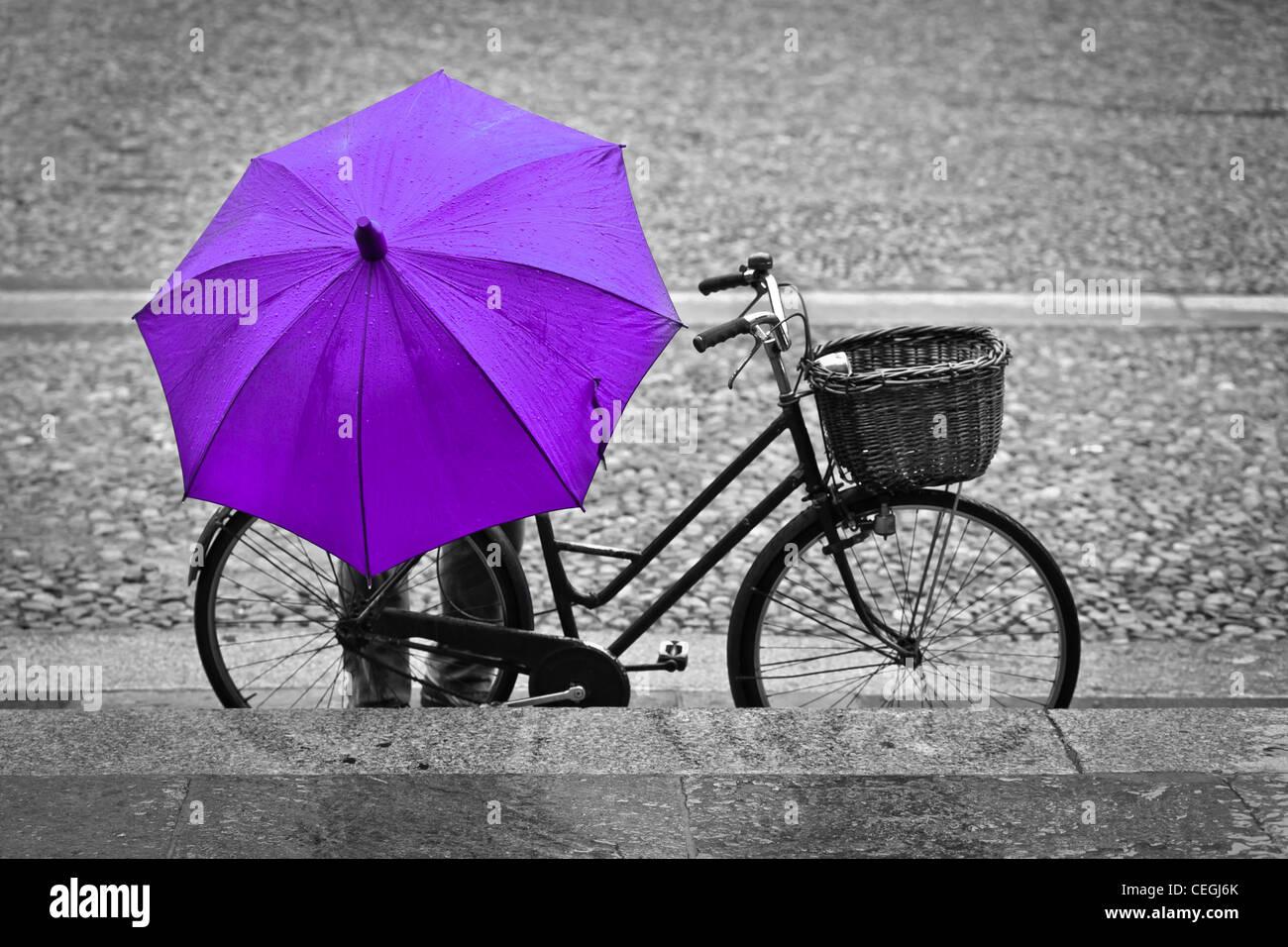 Ein Mann mit einem rosa Regenschirm Parkplatz sein Fahrrad, Parma, Italien Stockbild