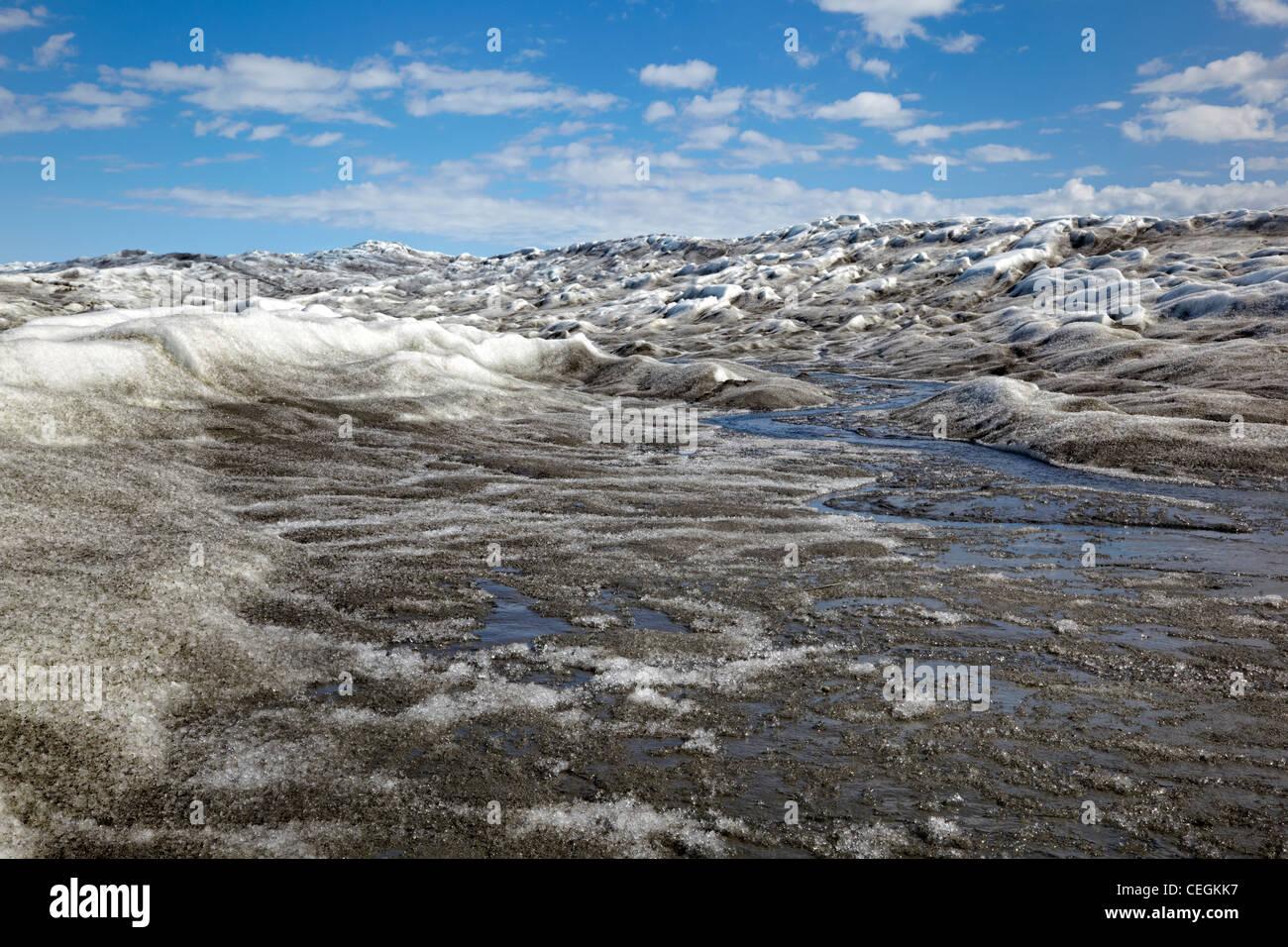 Abschmelzen der Eiskappe, Grönland Stockbild