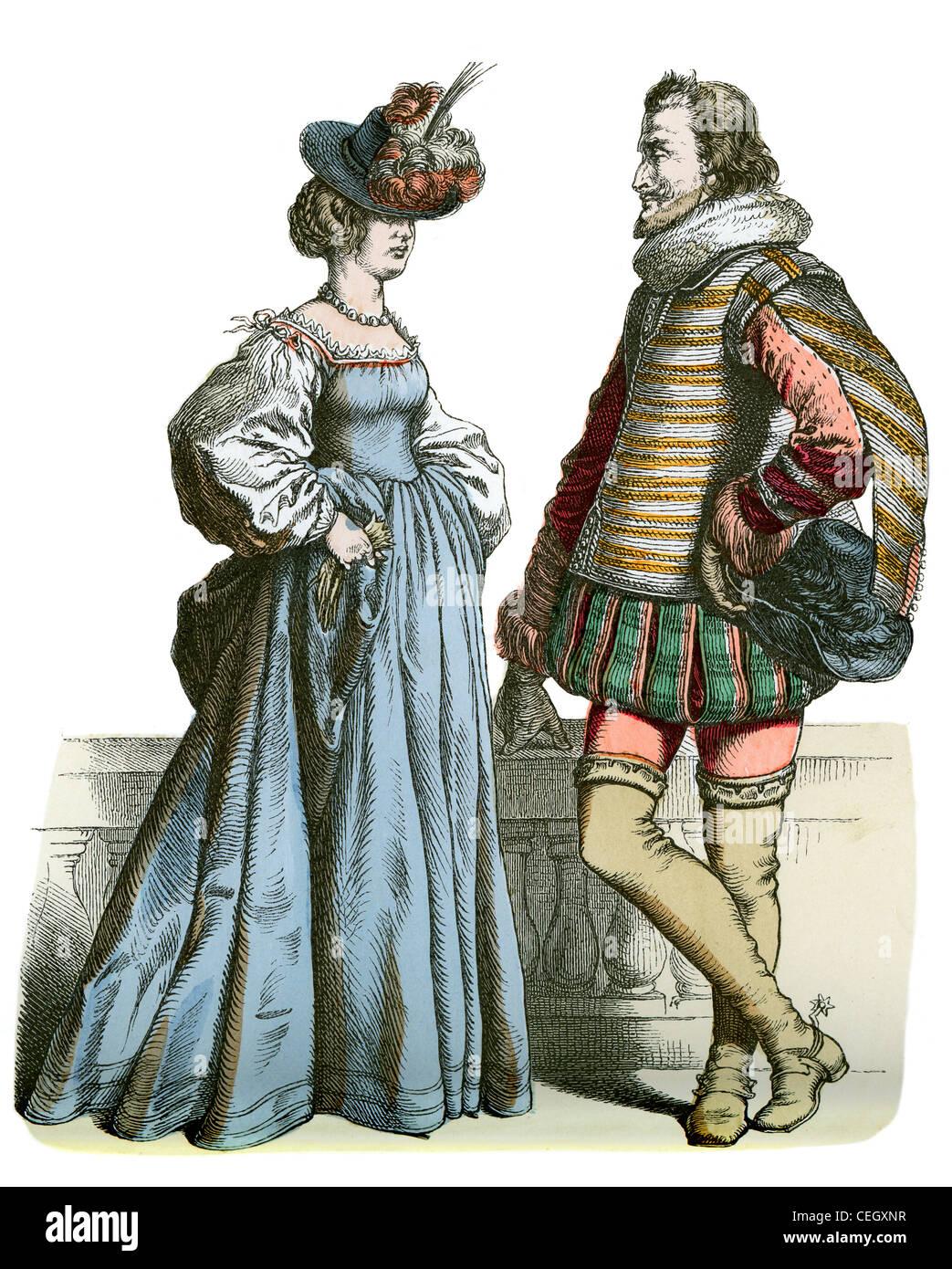 17 Jahrhundert Bild Architektur: Ein Edler Mann Und Eine Frau In Der Mode Des 17