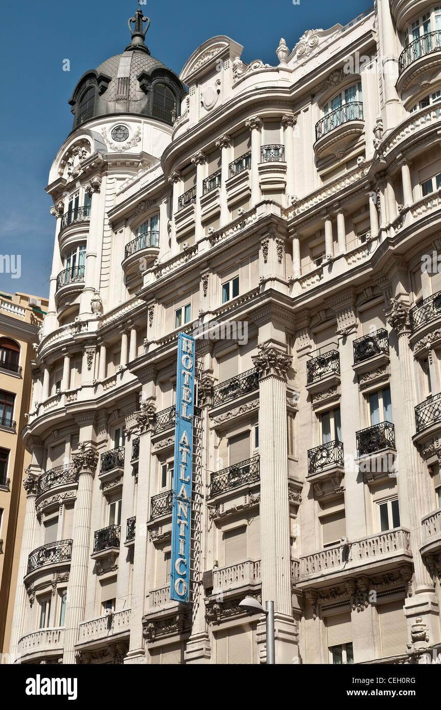 Das Hotel Atlantico auf der Gran Via. Berühmte zivile Kriegszeit Residenz von Ernest Hemingway und andere Journalisten, Stockbild