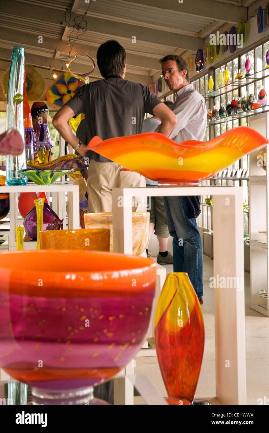Seidelberg Wine Estate Glaswaren Ausstellung, Seidelberg Wine Estate, Cape Wine Route, Paarl, Westkap Stockbild