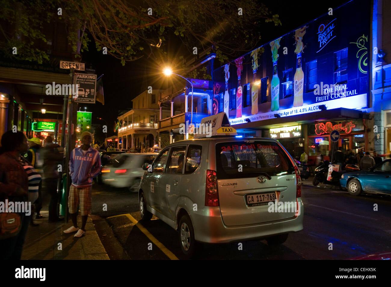 Lange Straße Nachtleben, Kapstadt, Westkap Stockbild