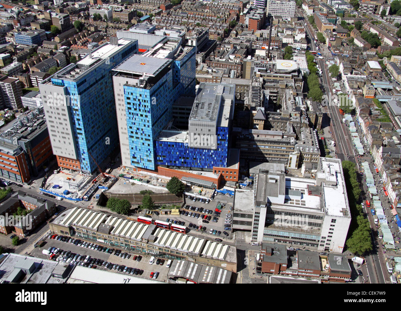 Luftaufnahme des Royal London Hospital, Mile End, London E2 Stockbild