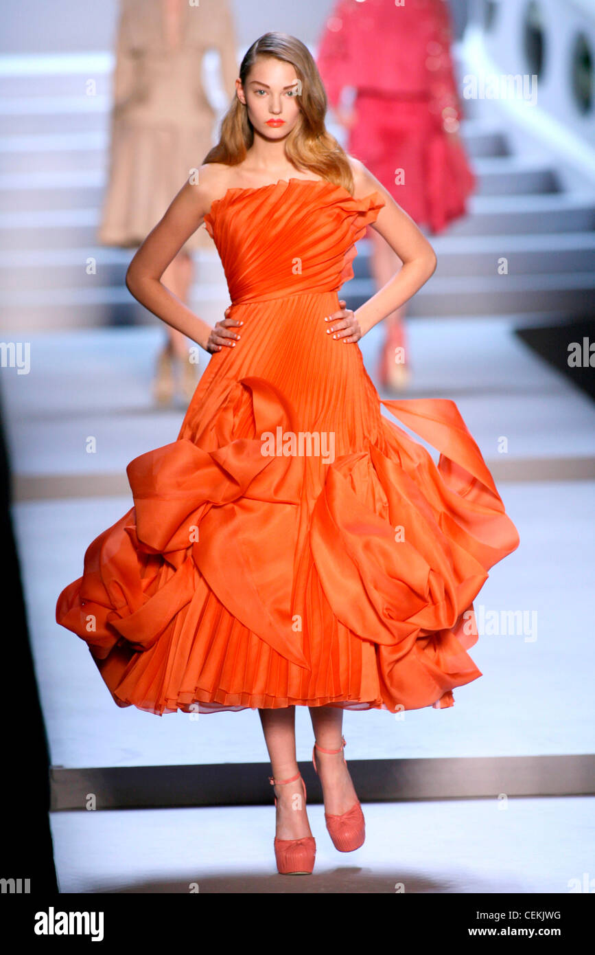 Plissee kleid orange