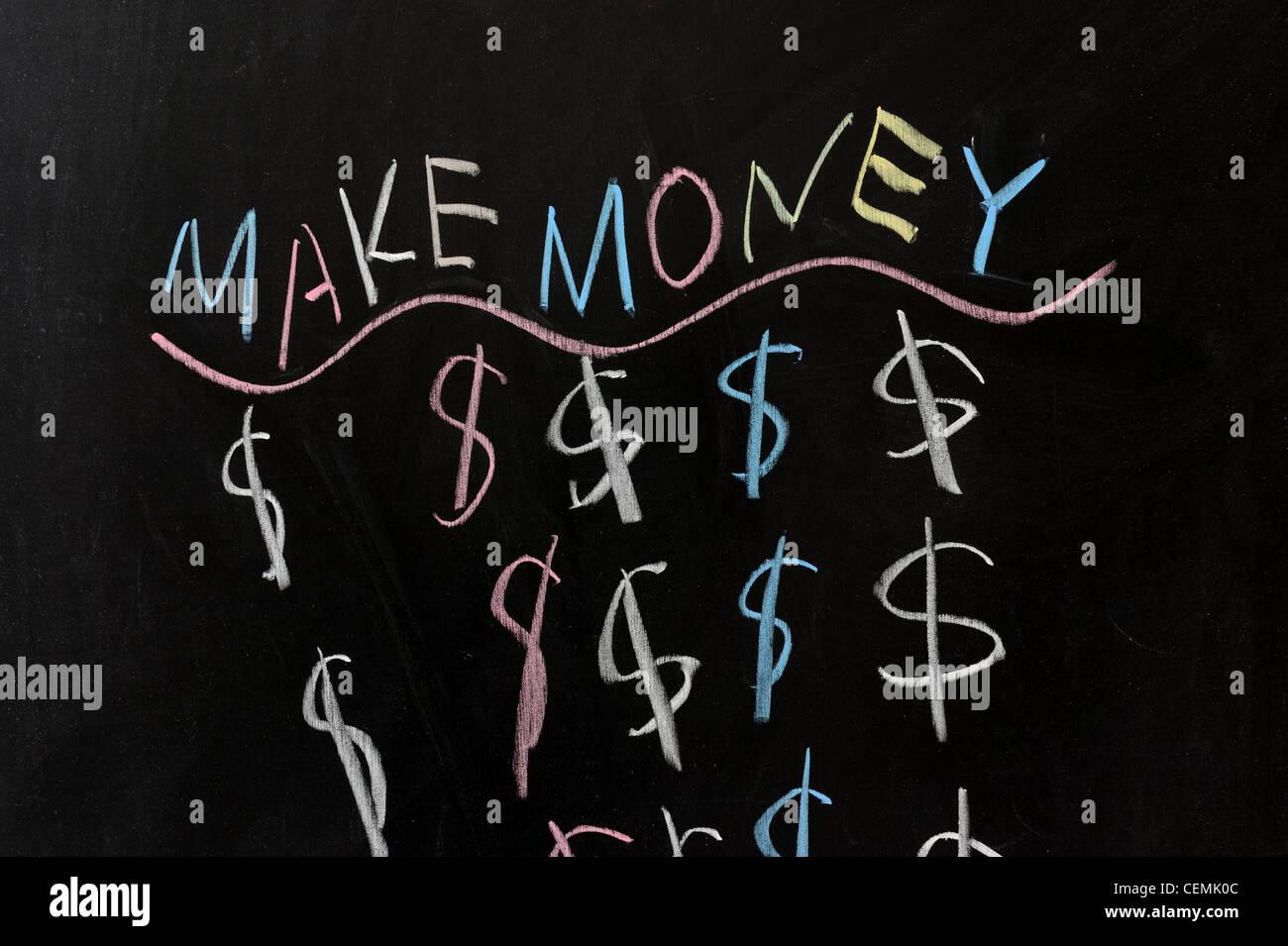 Verdienen Sie Geld - konzeptionelle Kreidezeichnung Stockbild