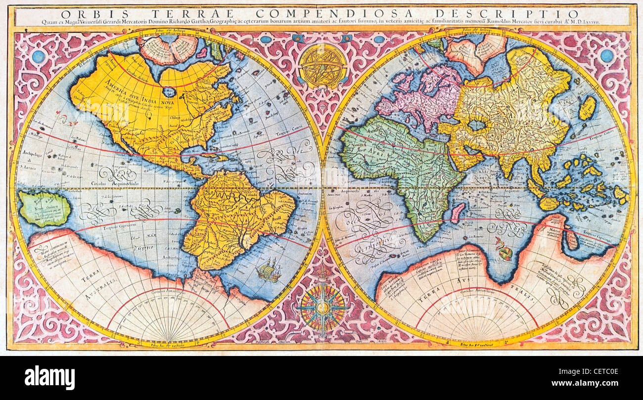 Farbige 16 Jahrhundert Mercator Karte Der Welt Stockfoto Bild