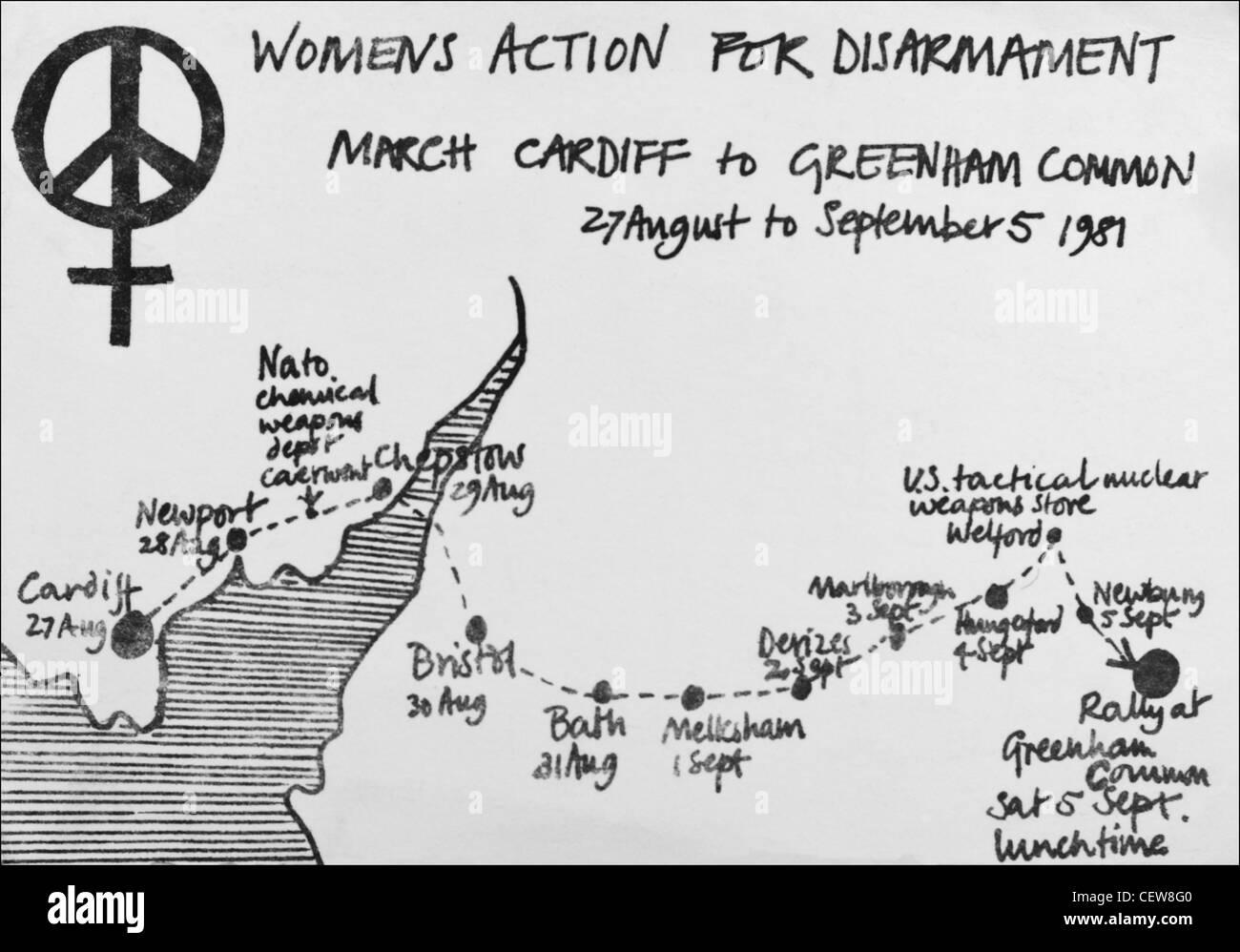 Postkarte der Womens-Aktion für Abrüstung Cardiff Greenham Common CND Friedensmarsch 27. August bis 5. Stockbild