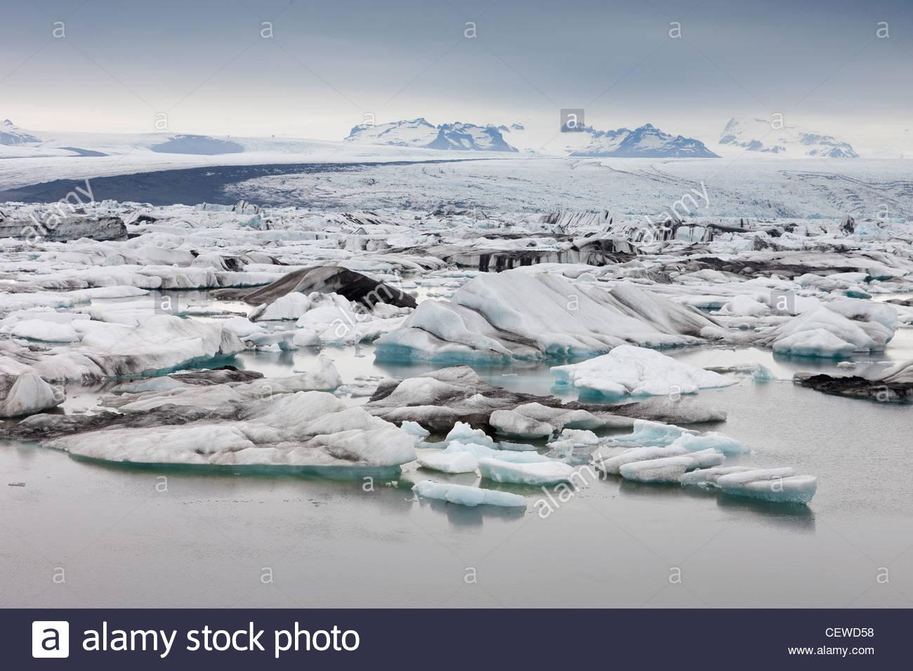Zahlreiche Eisberge schwimmen im Jökulsárlón, die Gletscherlagune im Südosten Islands. Stockbild