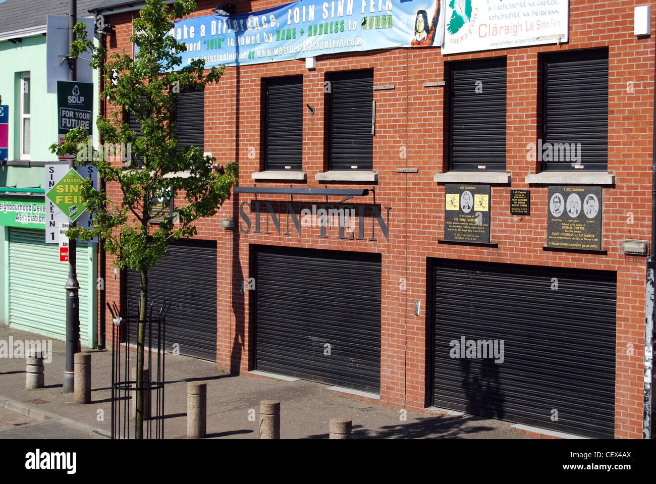 Sinn Féin HQ Head Quarters Stockbild