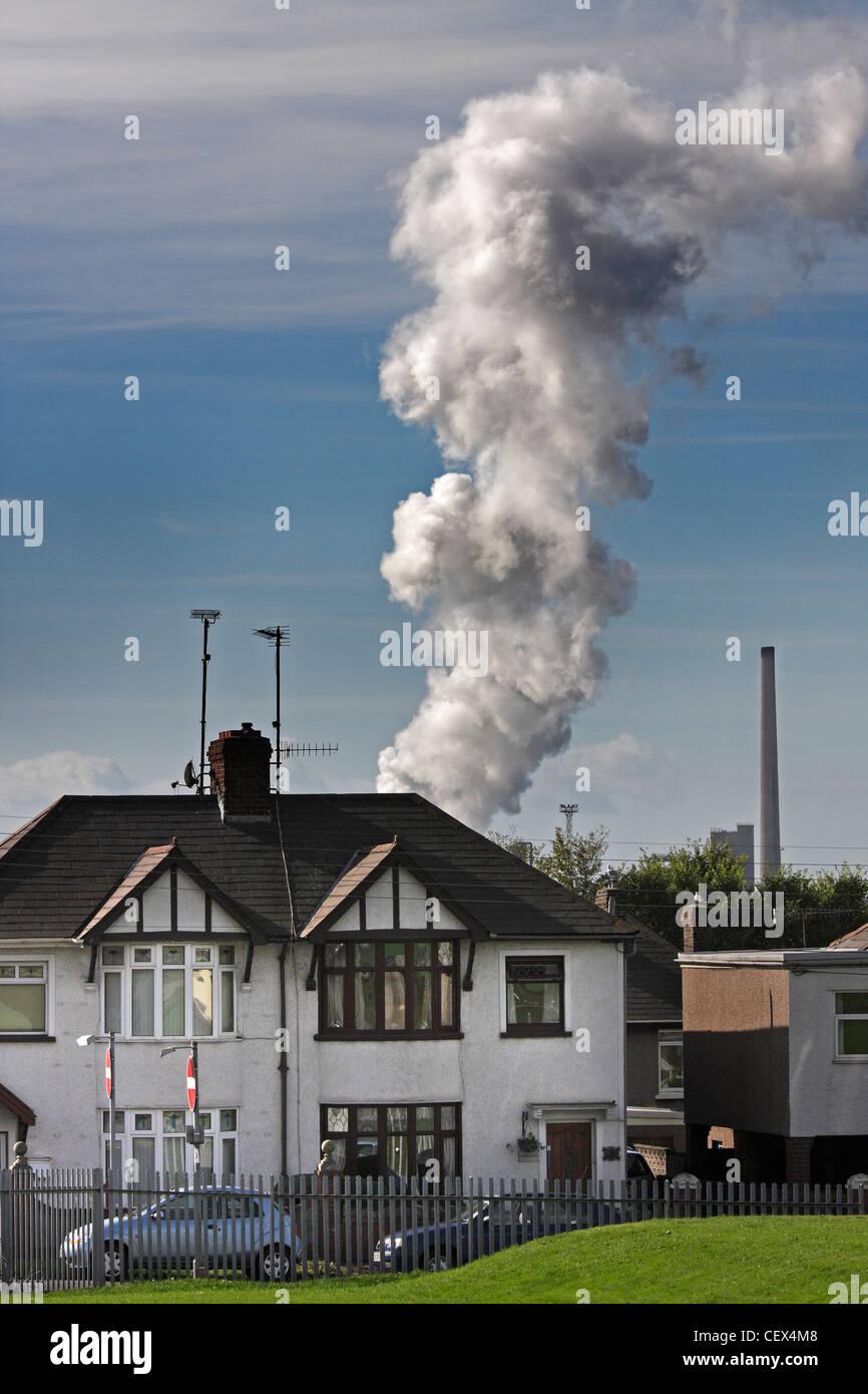 Ein Blick in Richtung Port Talbot Stahl arbeitet in Wales 2. Stockfoto
