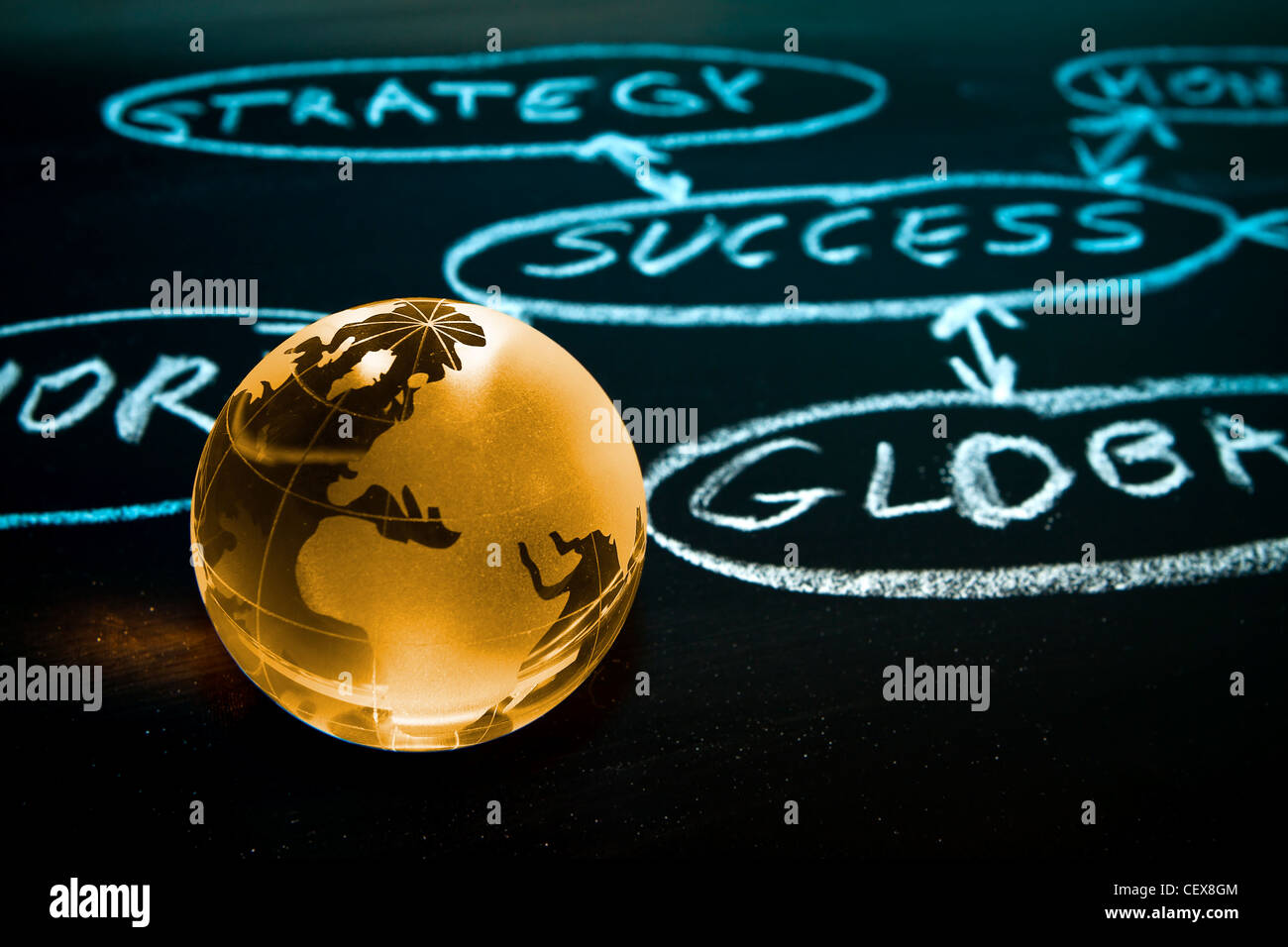 Flussdiagramm auf einer Tafel mit Weltkugel zeigt Afrika Stockbild