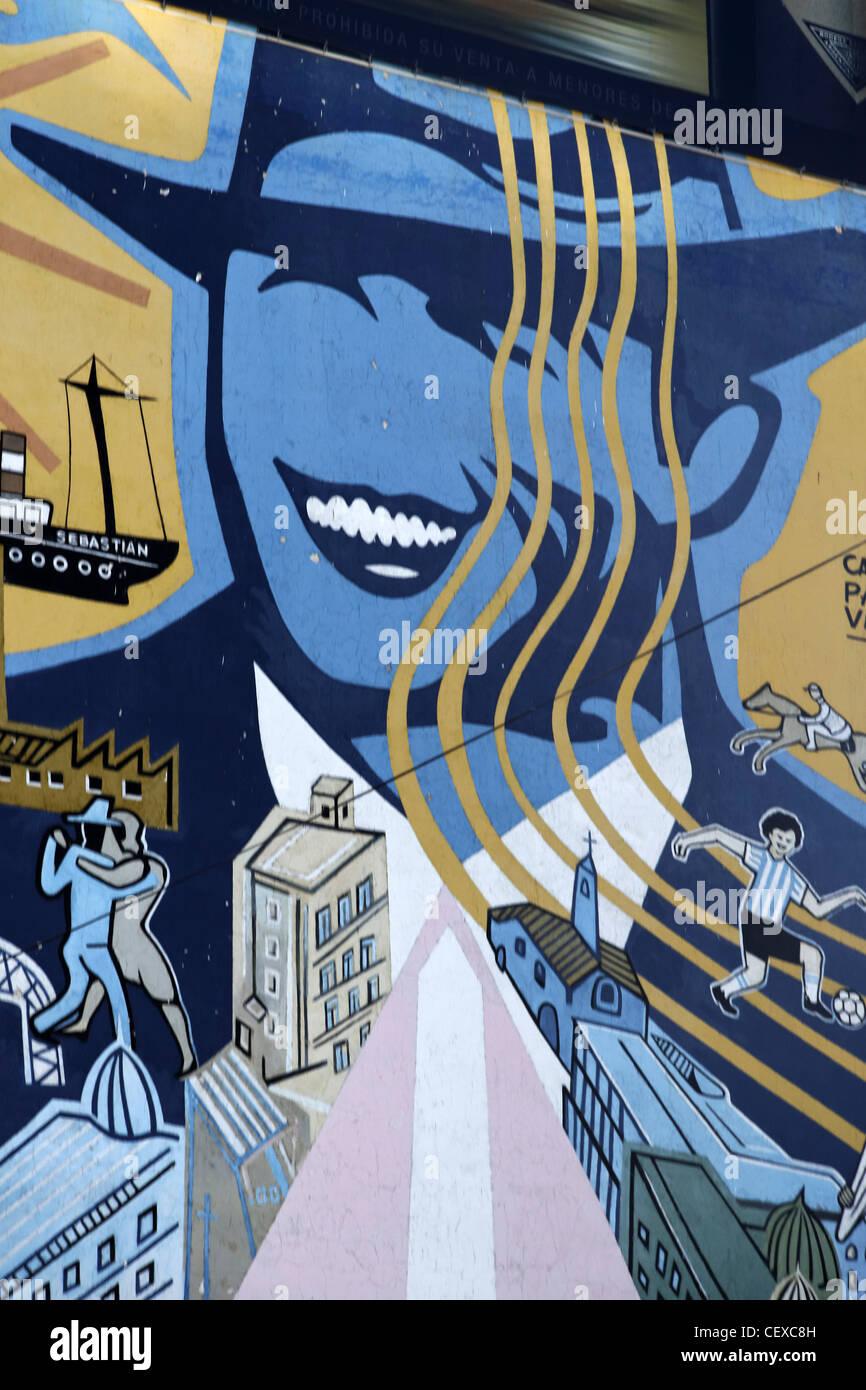 Wandmalerei Carlos Gardel in Palermo, Buenos Aires, Argentinien Stockbild