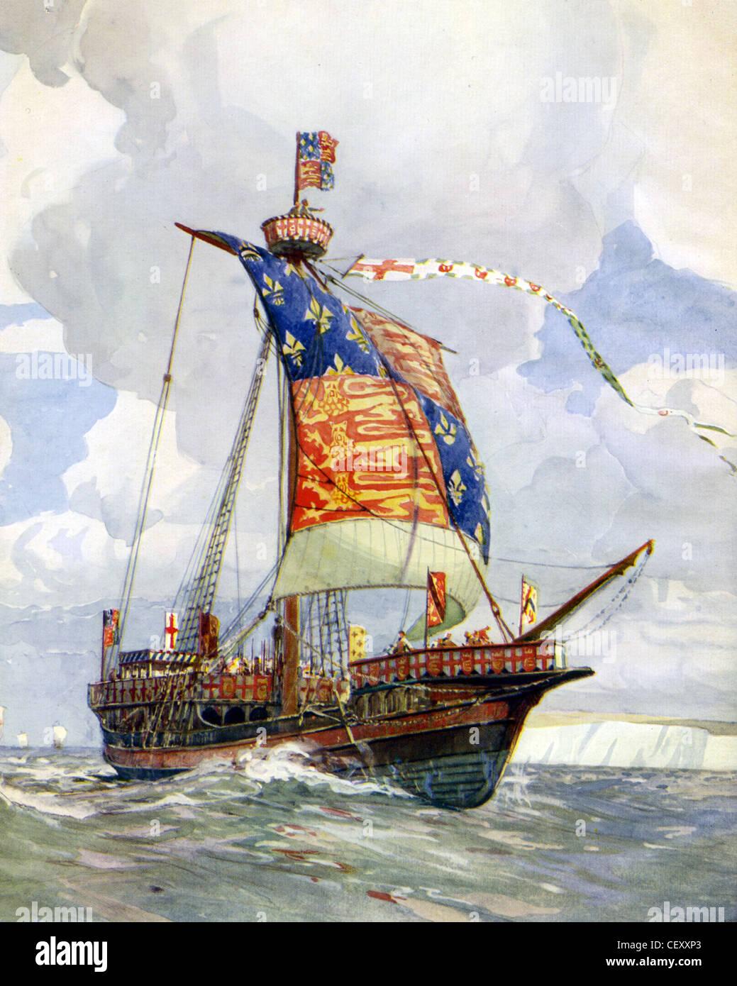 14. Jahrhundert englische Kriegsschiff gemalt von Marine-Historiker Gregory Robinson Stockbild